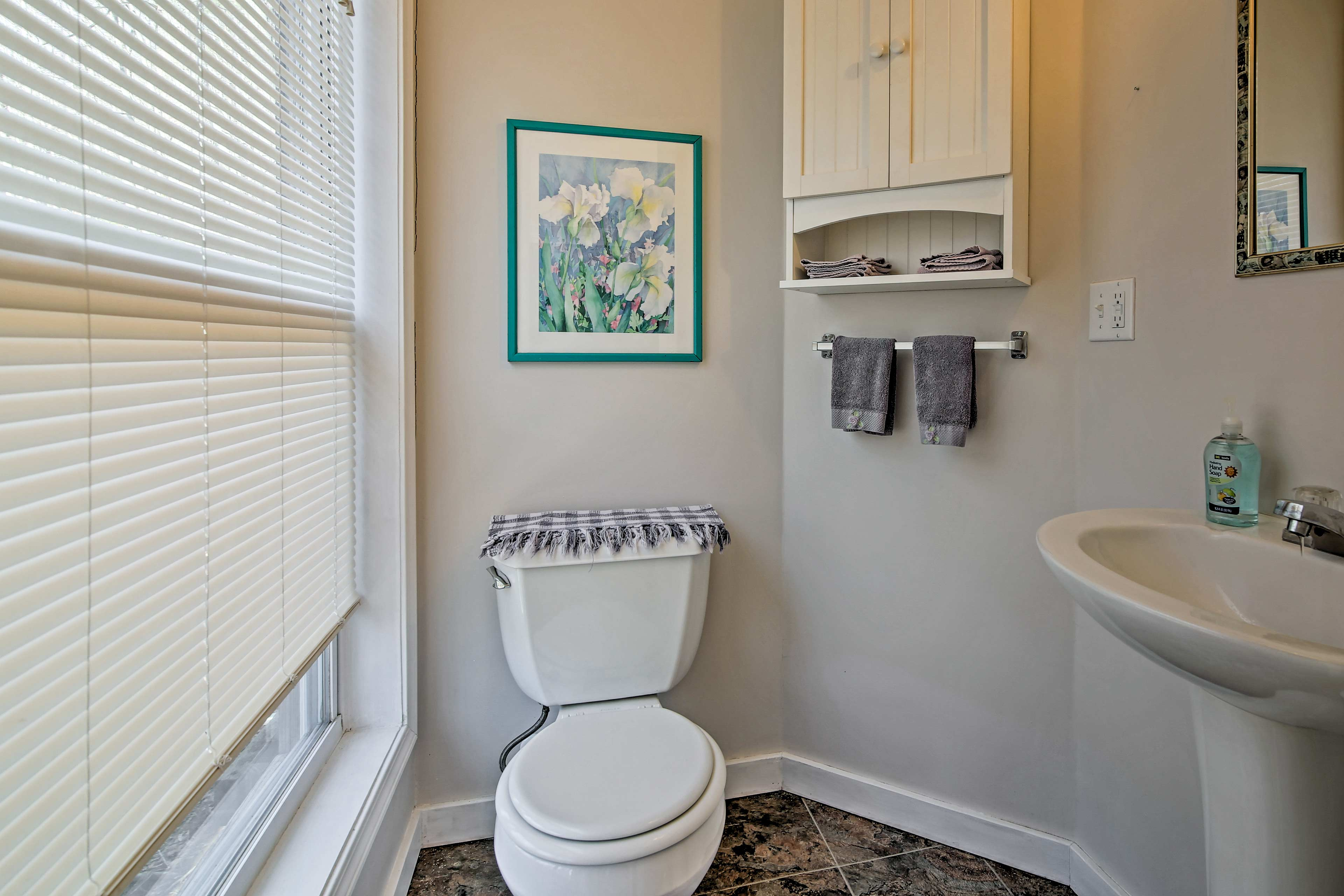 The home offers 1.5 bathrooms for guests to use.