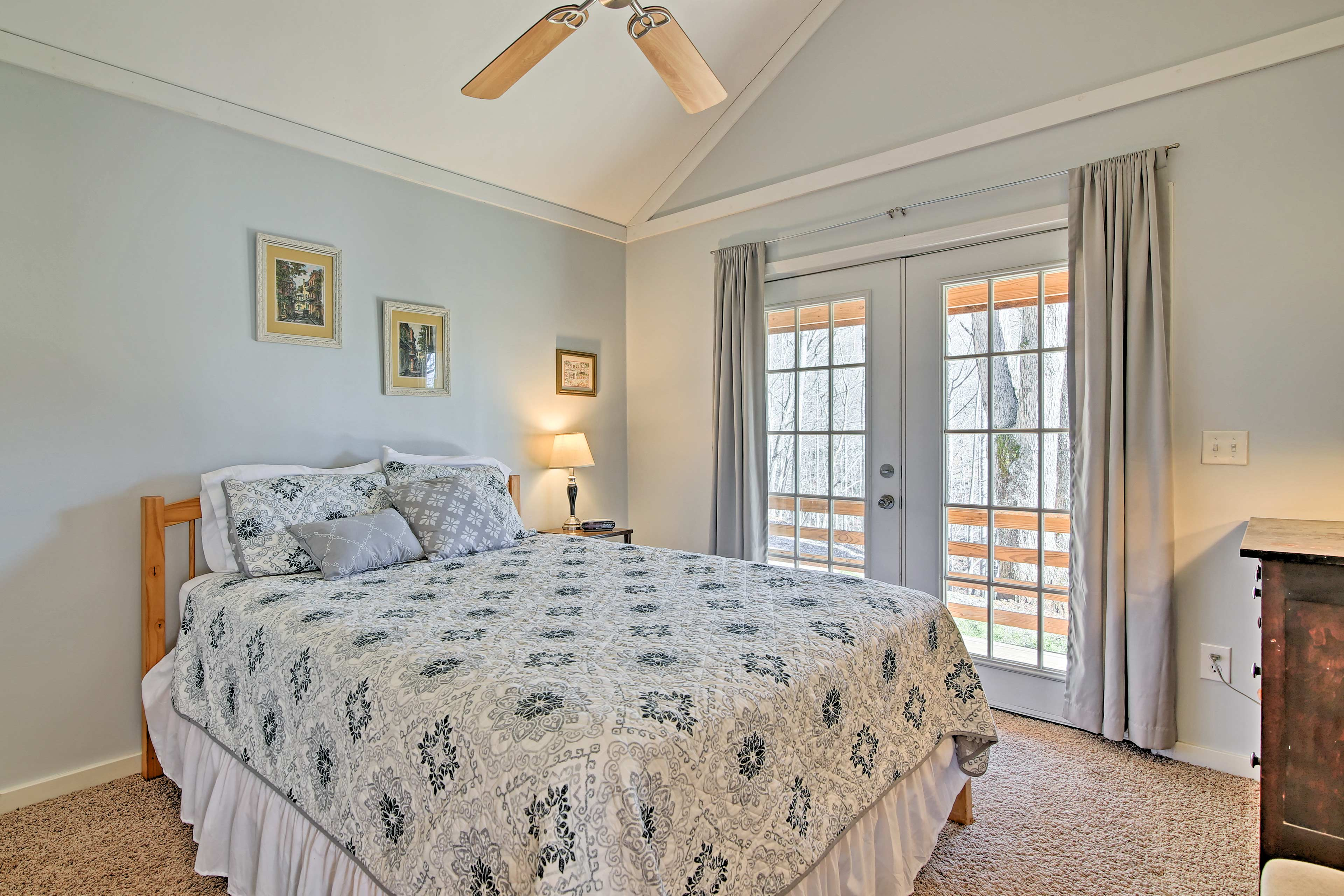 Doze off in the comfortable queen bed in the only bedroom.