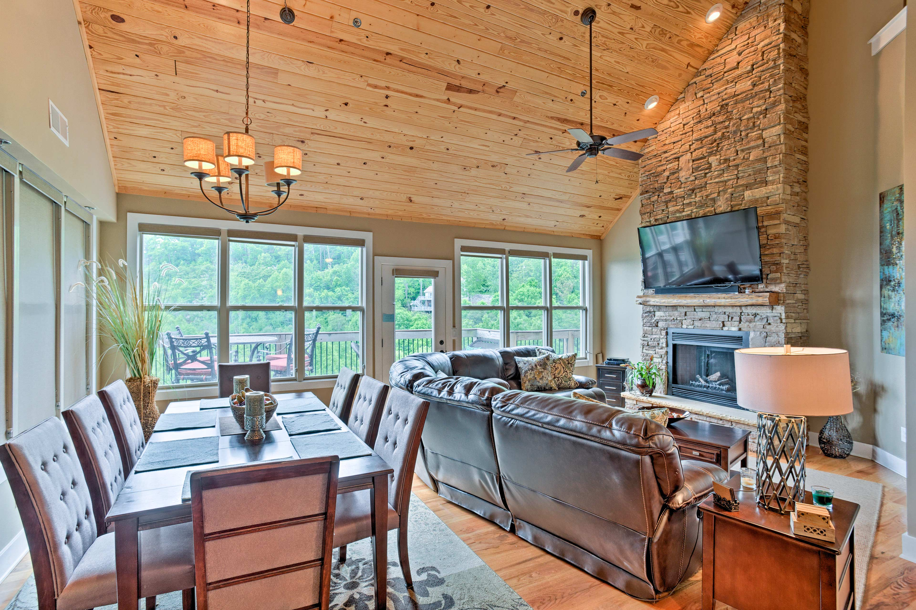 Access the furnished deck from the dining or living area.