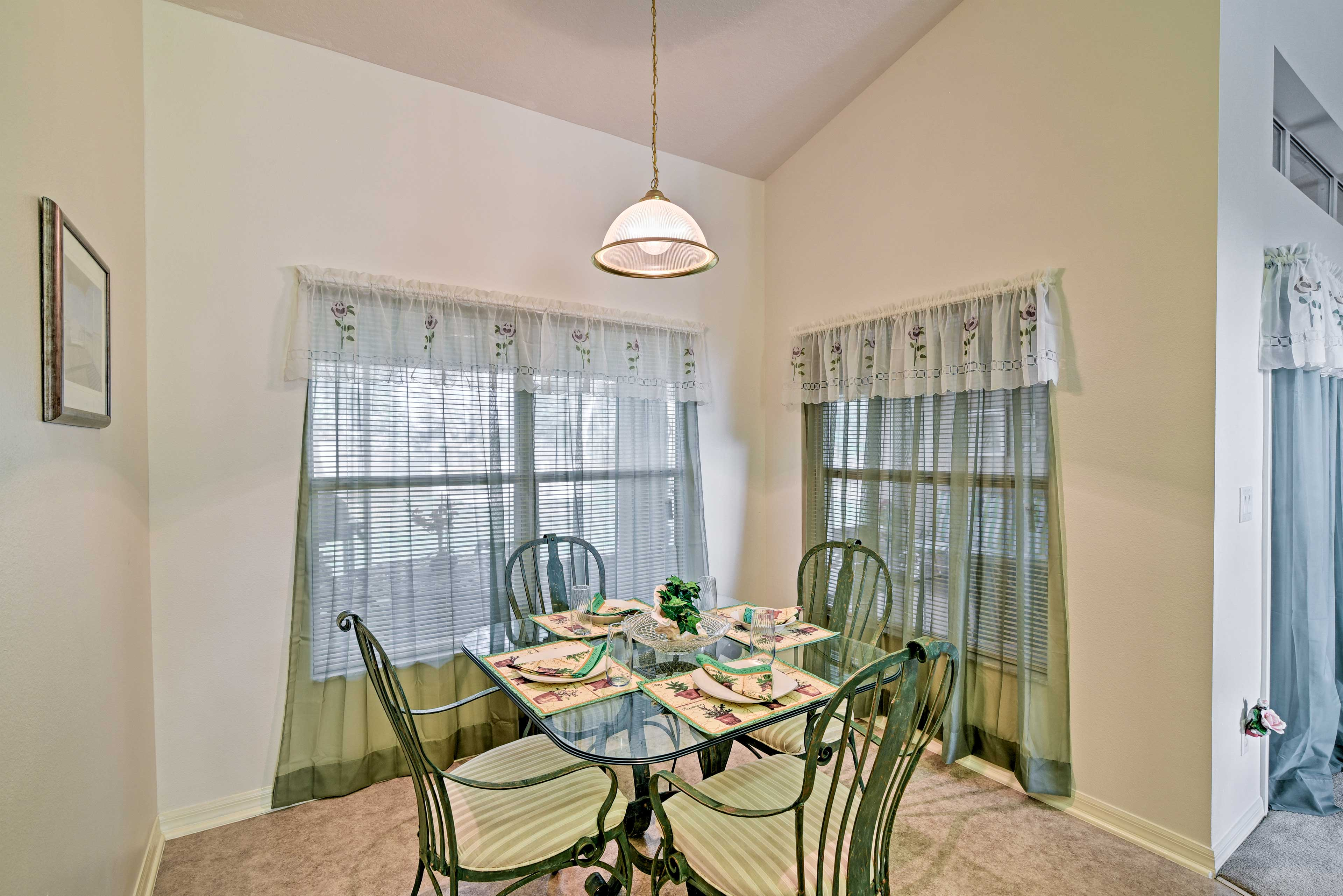 Share intimate meals at the breakfast nook with seating for 4.