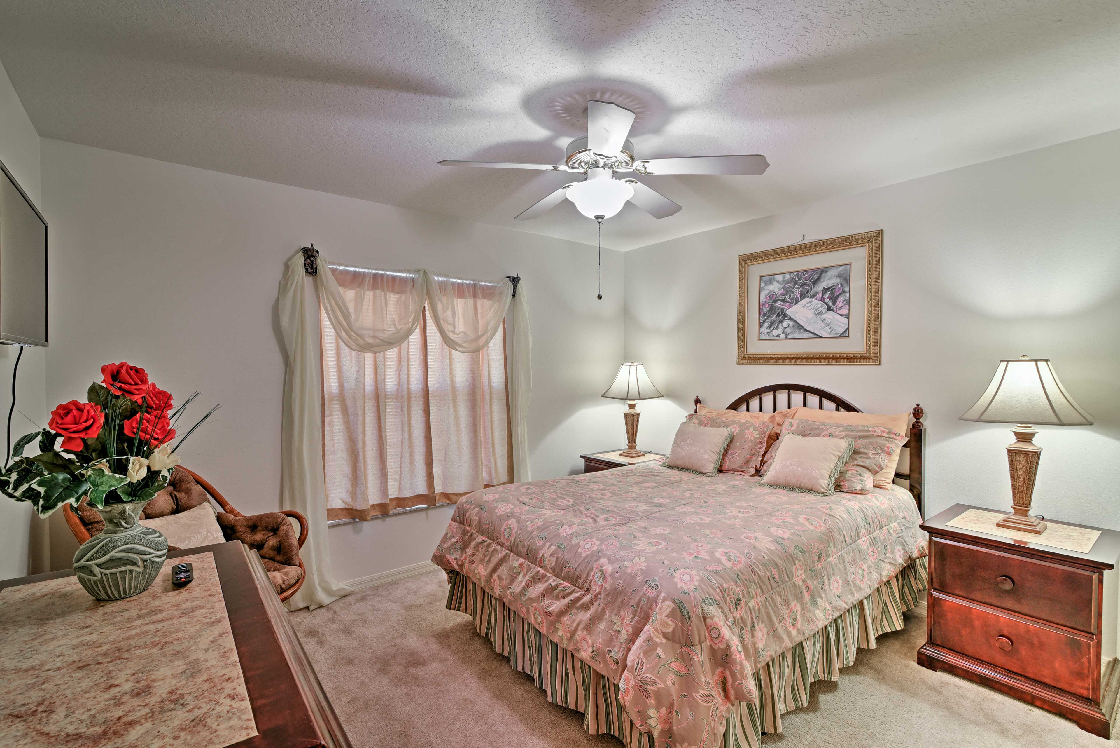 Two travelers can rest easy in this second queen bedroom.
