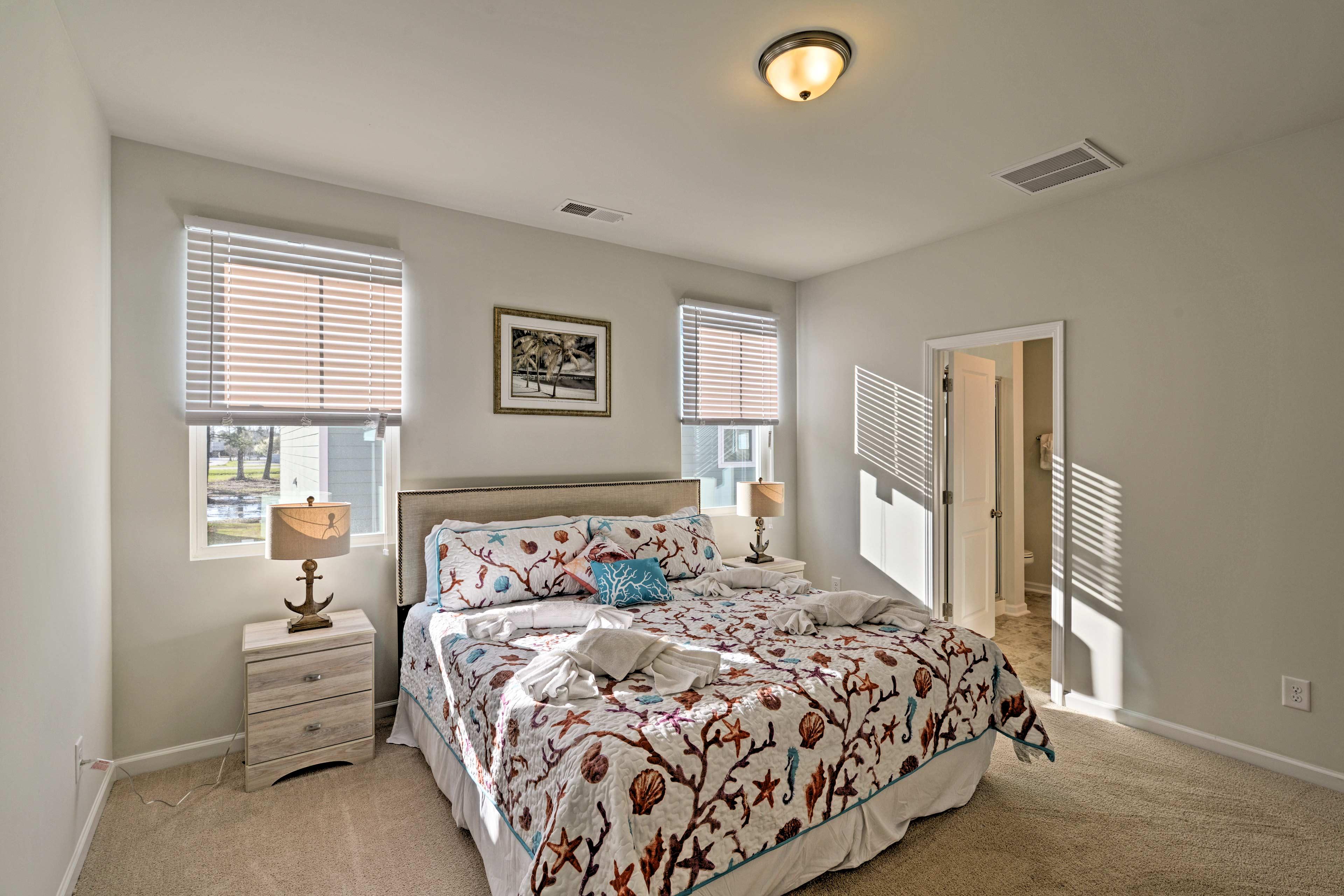 Natural light fills the master bedroom.