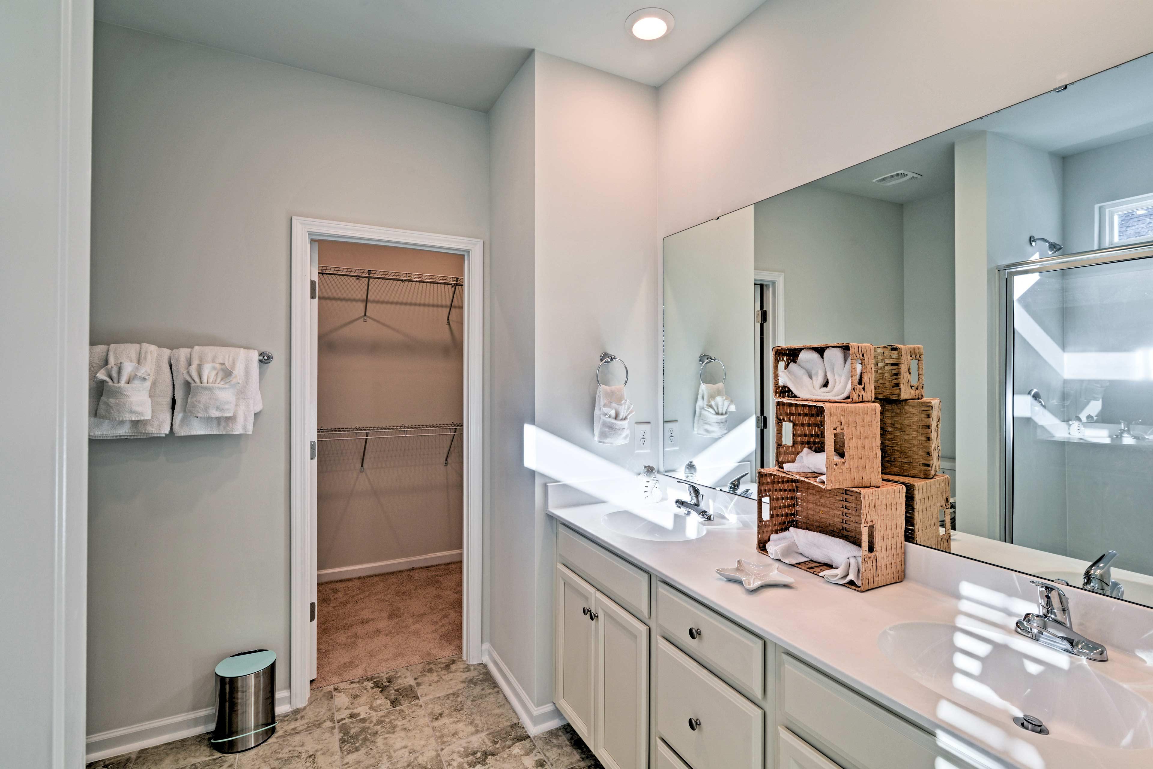 Rinse up before bed in the master en-suite bathroom.