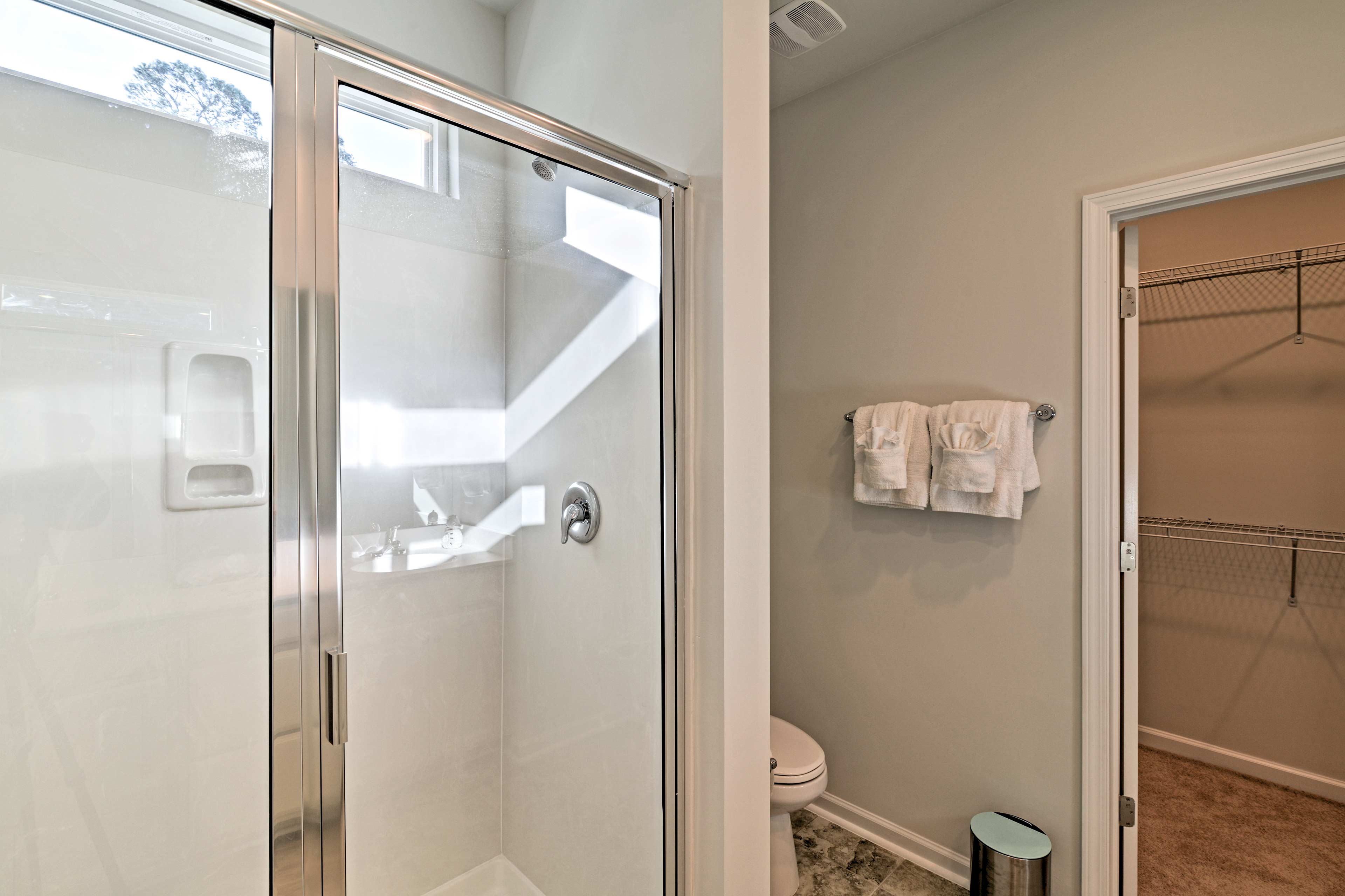 The master en-suite offers a walk-in shower.
