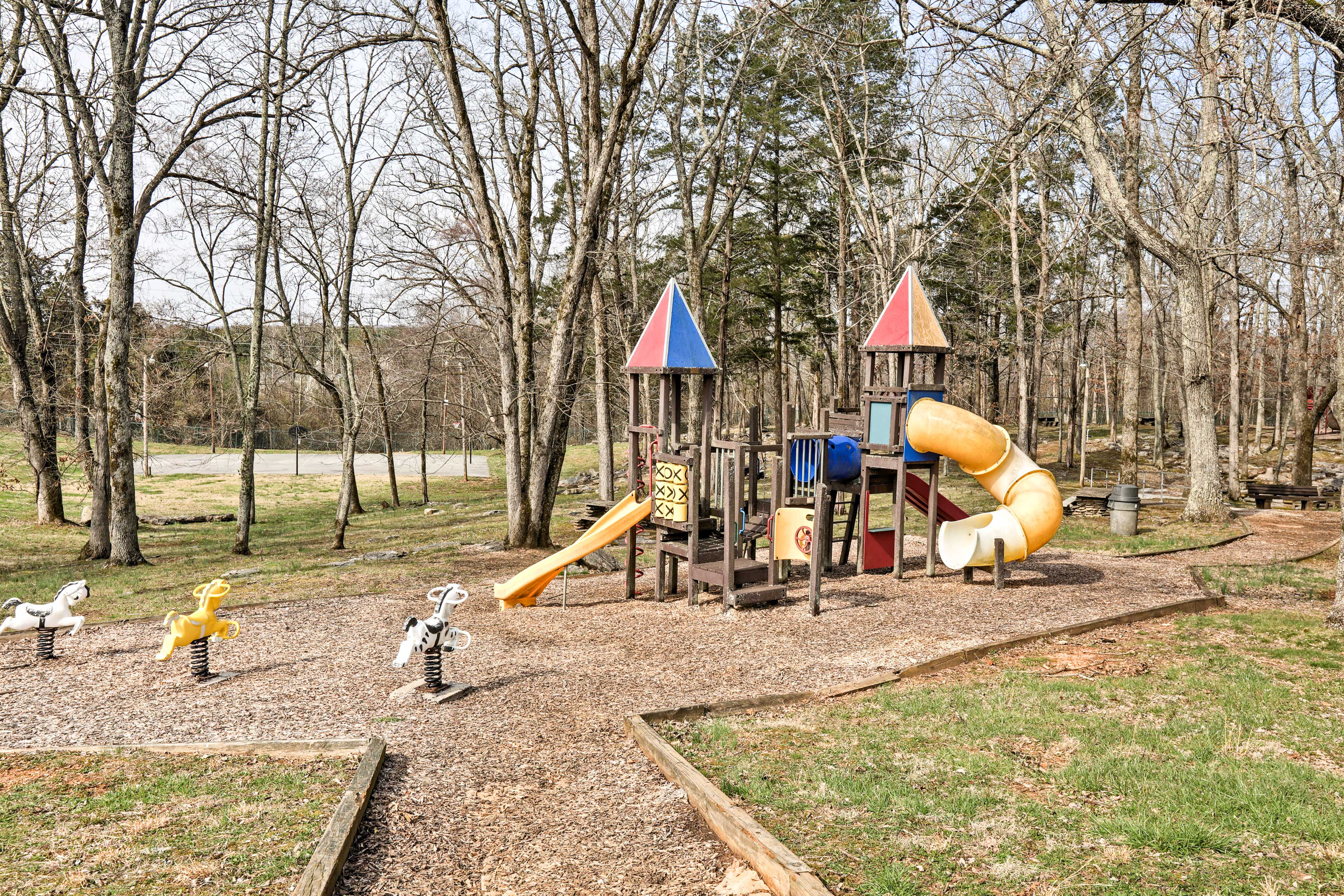 This home is perfect for family reunions, complete with swings and slides!