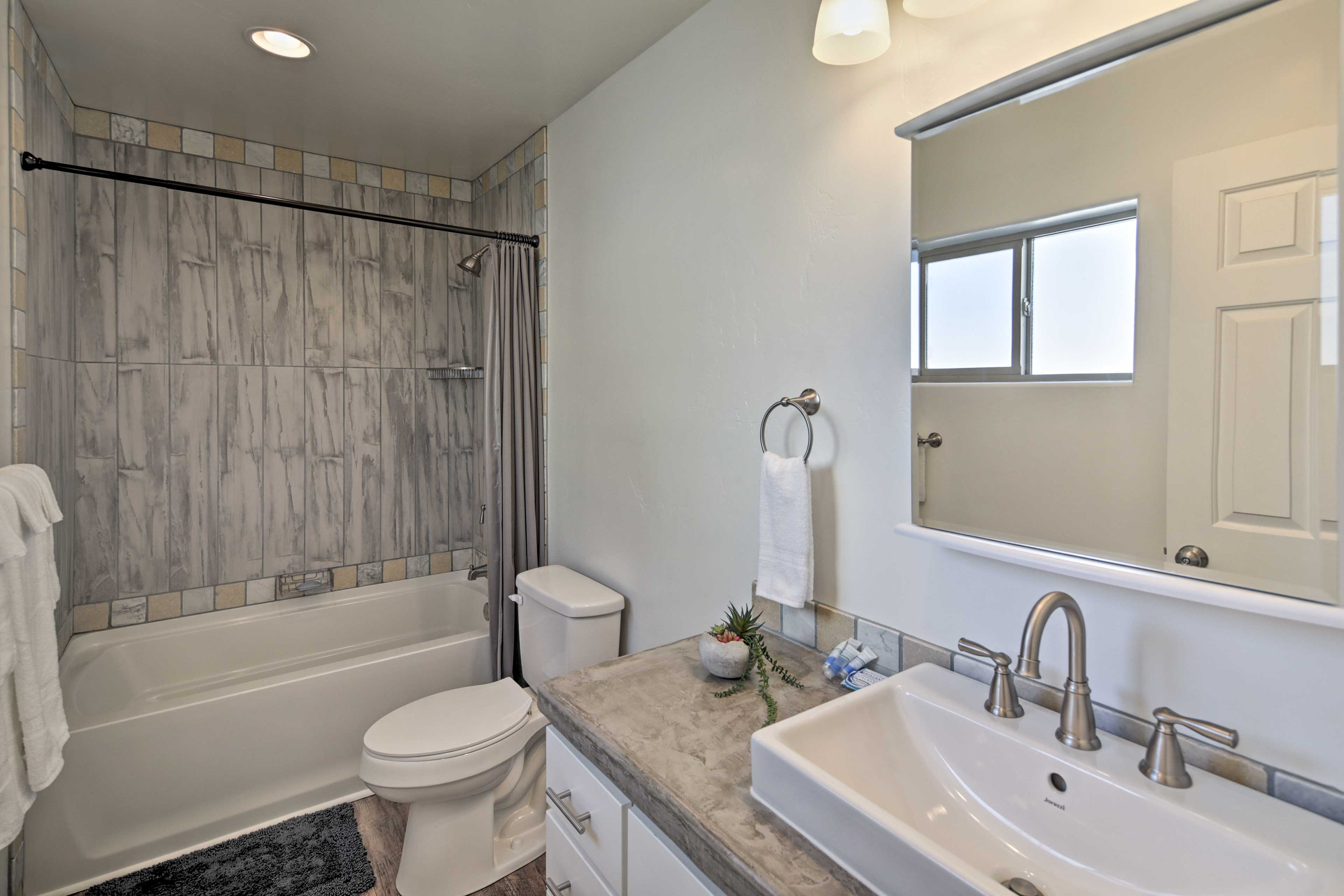 A shower in the en-suite bathroom will leave you feeling happy and clean.
