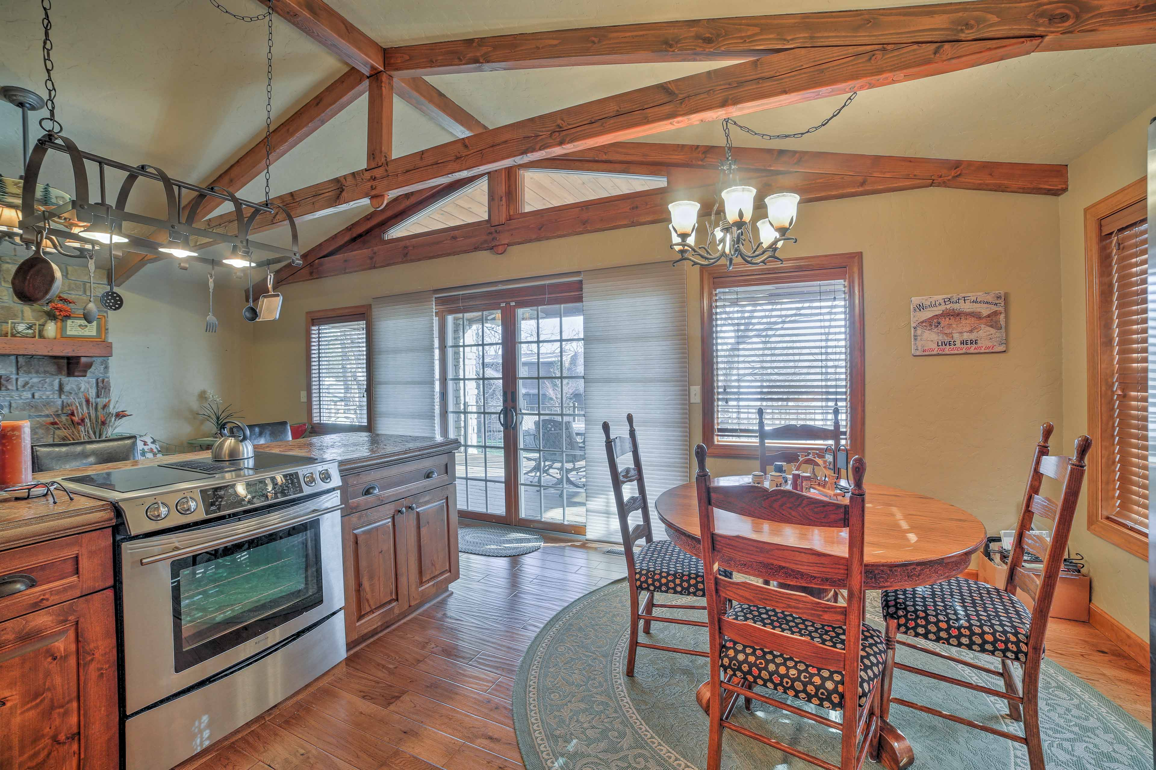 You'll love the farmhouse-meets-modern decor and large kitchen with views.