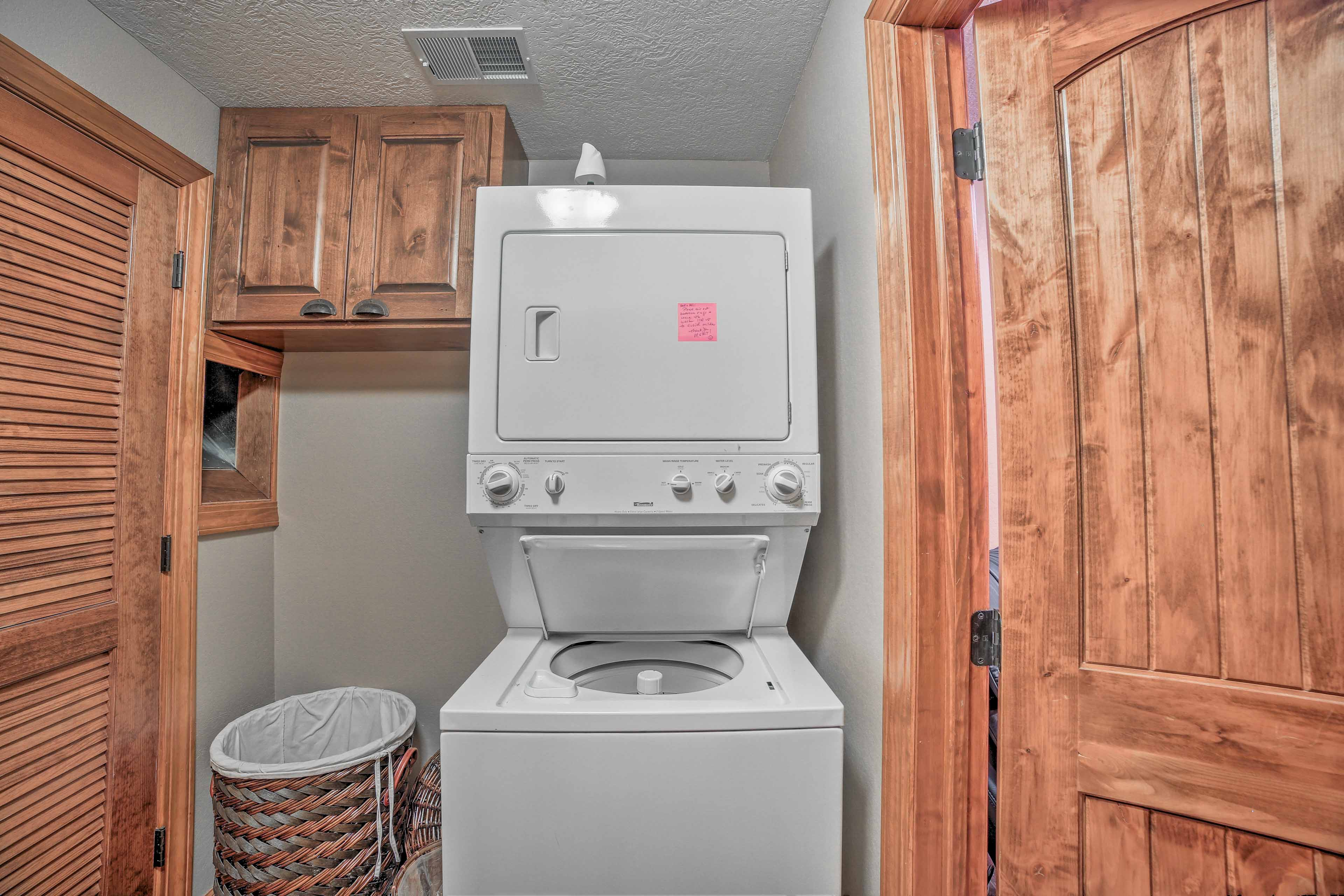 Keep your clothes clean in the washer and dryer unit provided in the home.