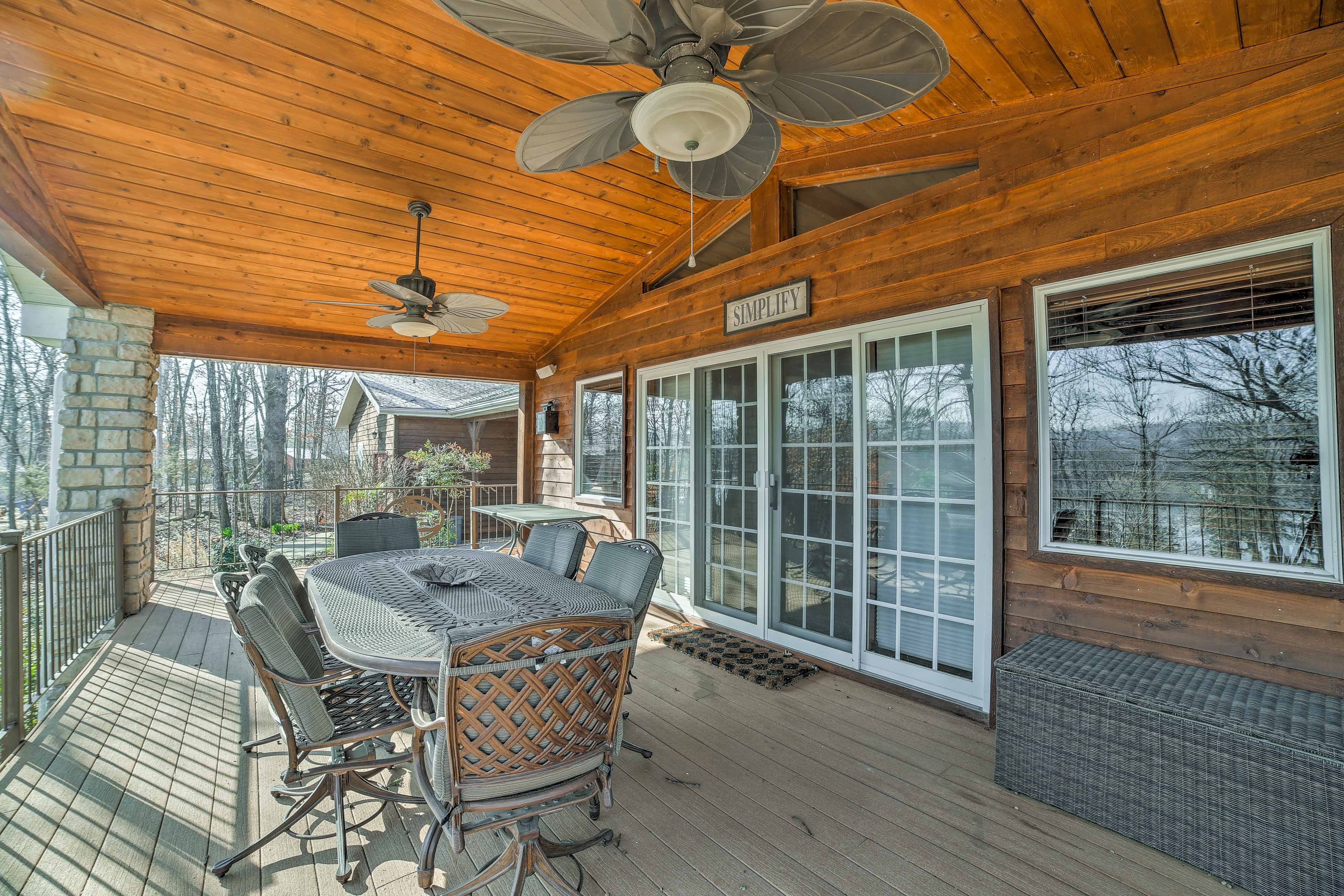 Eat dinner together on warm days at the outdoor patio with views of the lake.
