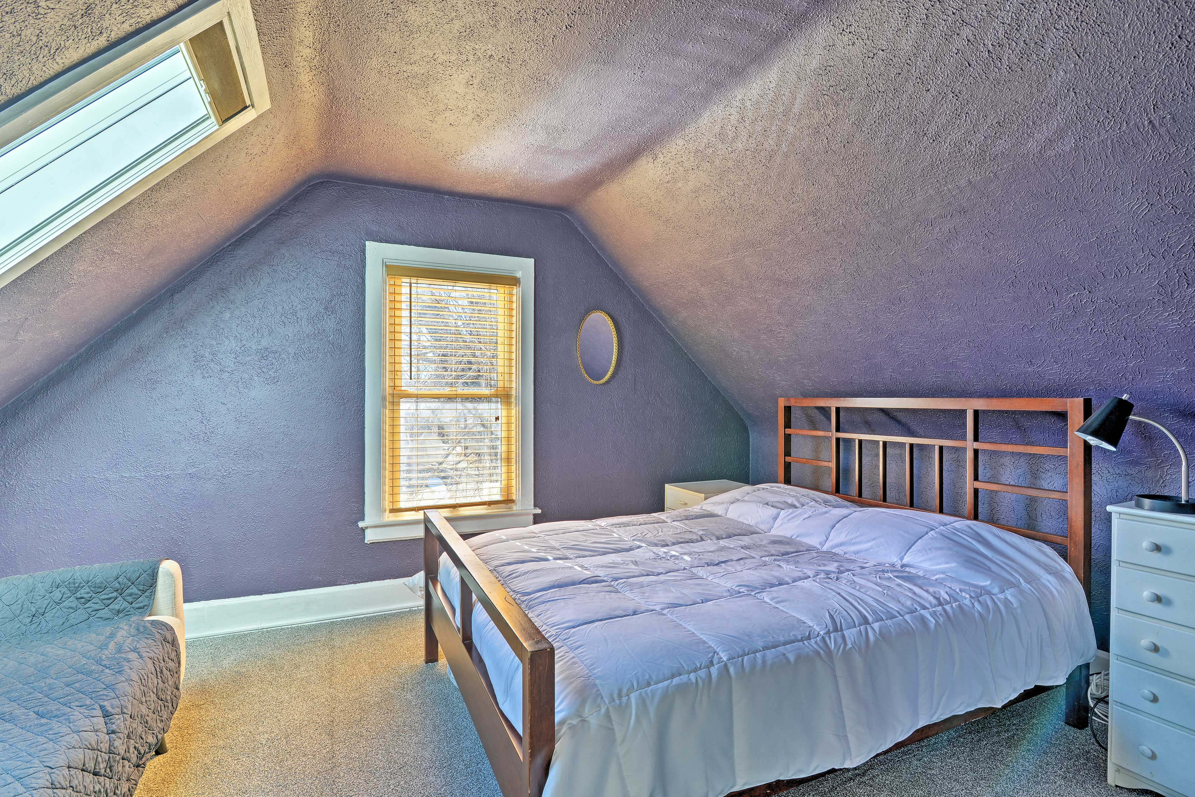 The second bedroom has a comfortable queen mattress for 2.
