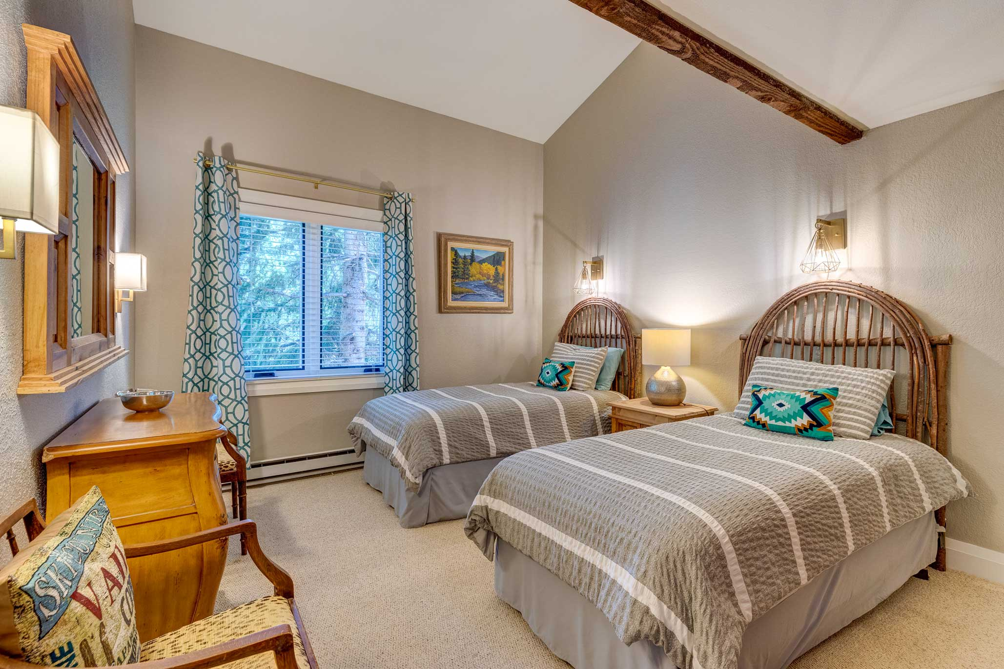 Two can share this bedroom with 2 twin-sized beds.
