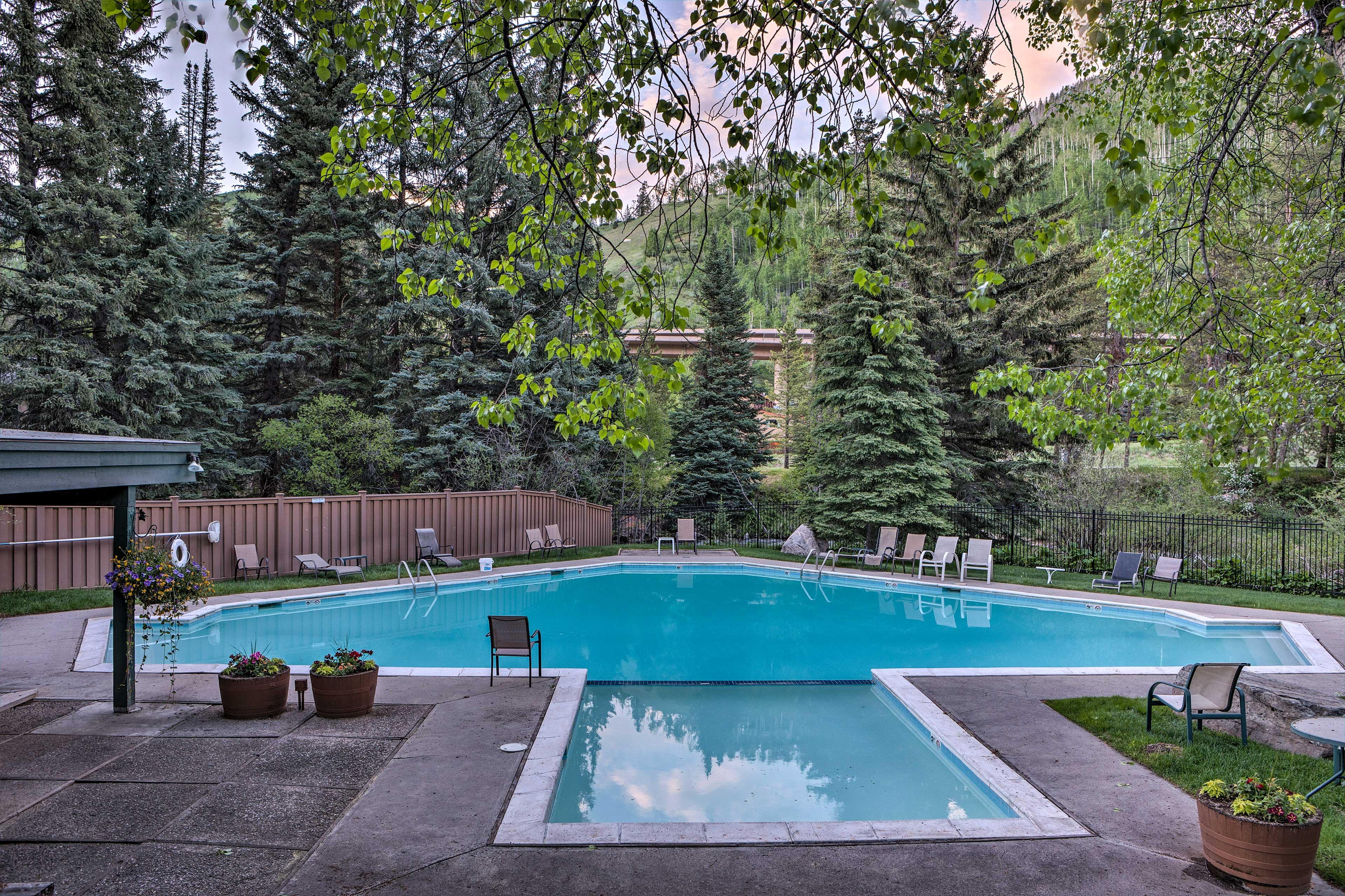 Beat the heat by splashing around in the pool.