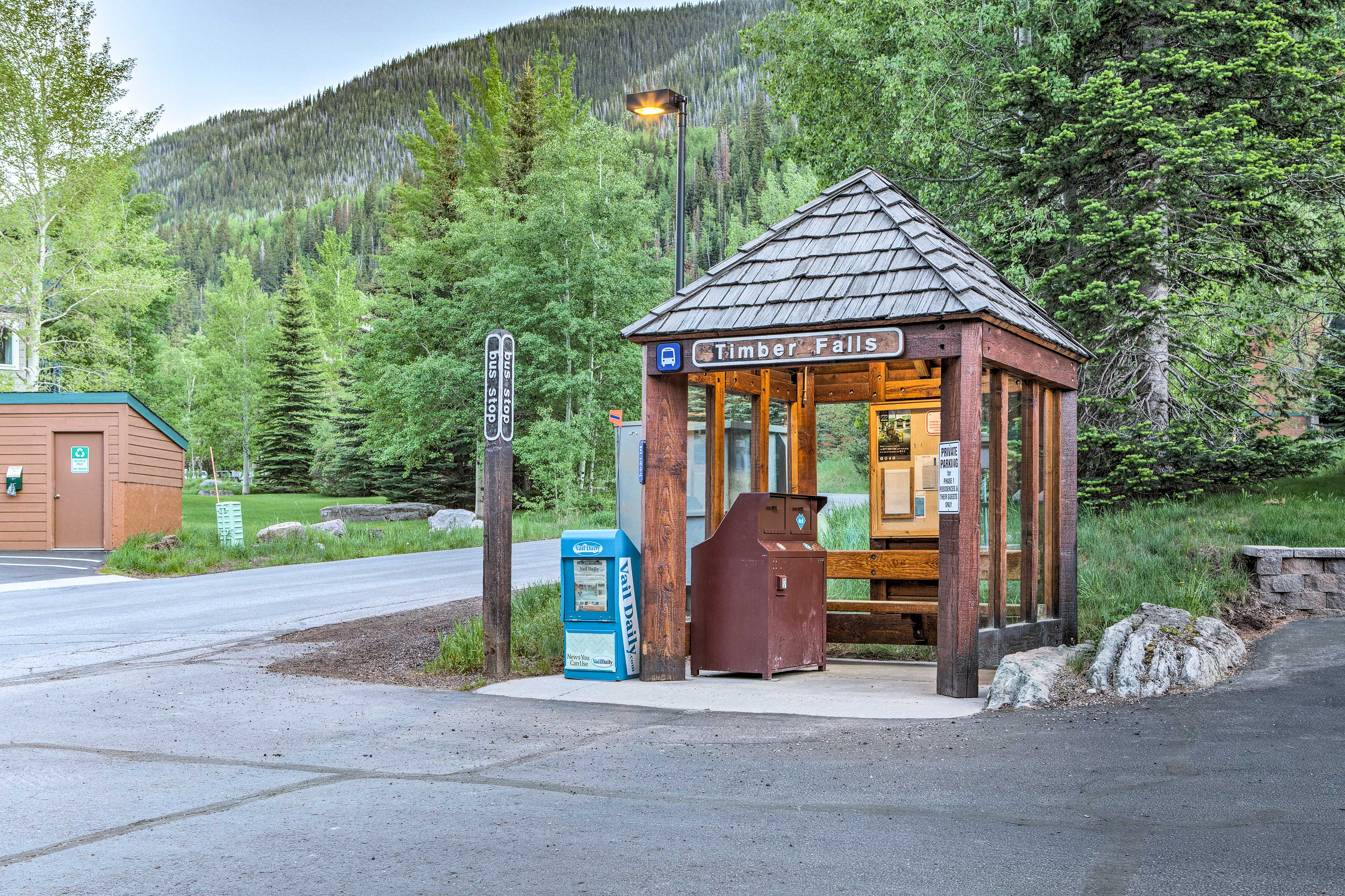 You'll have easy access to the free shuttle to Vail Village.