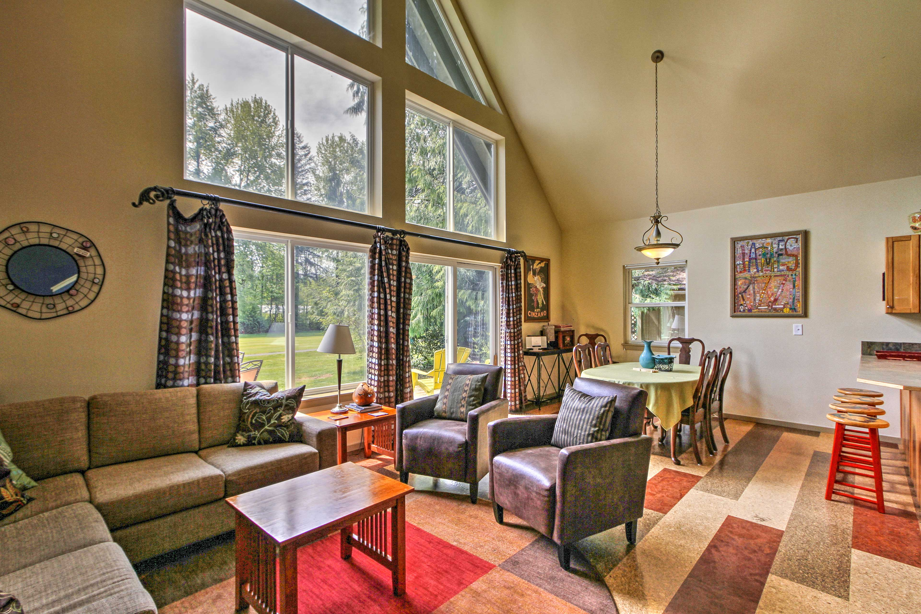 The well-appointed interior boasts a bedroom, loft, and full bath.