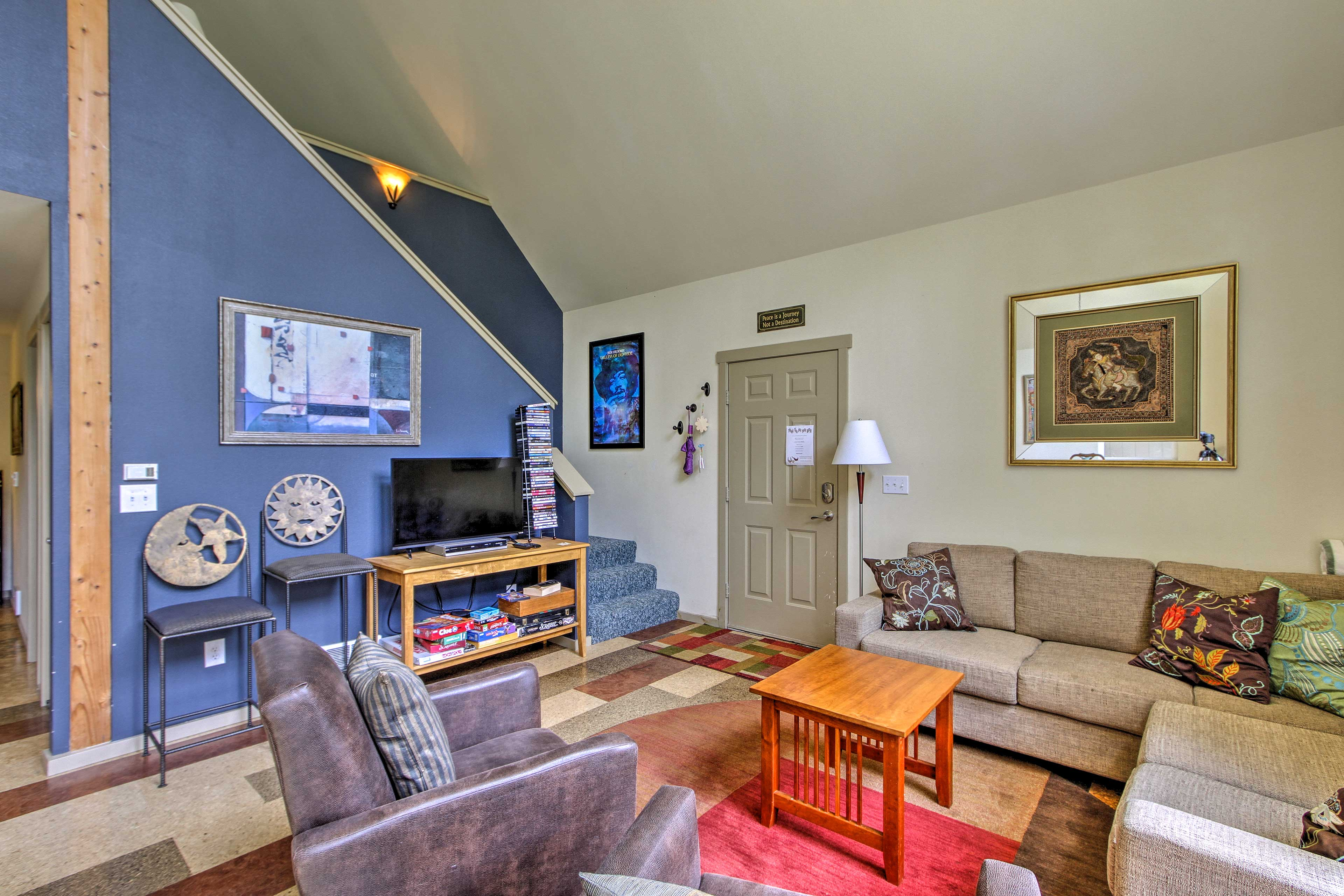 Contemporary furnishings fill the interior.