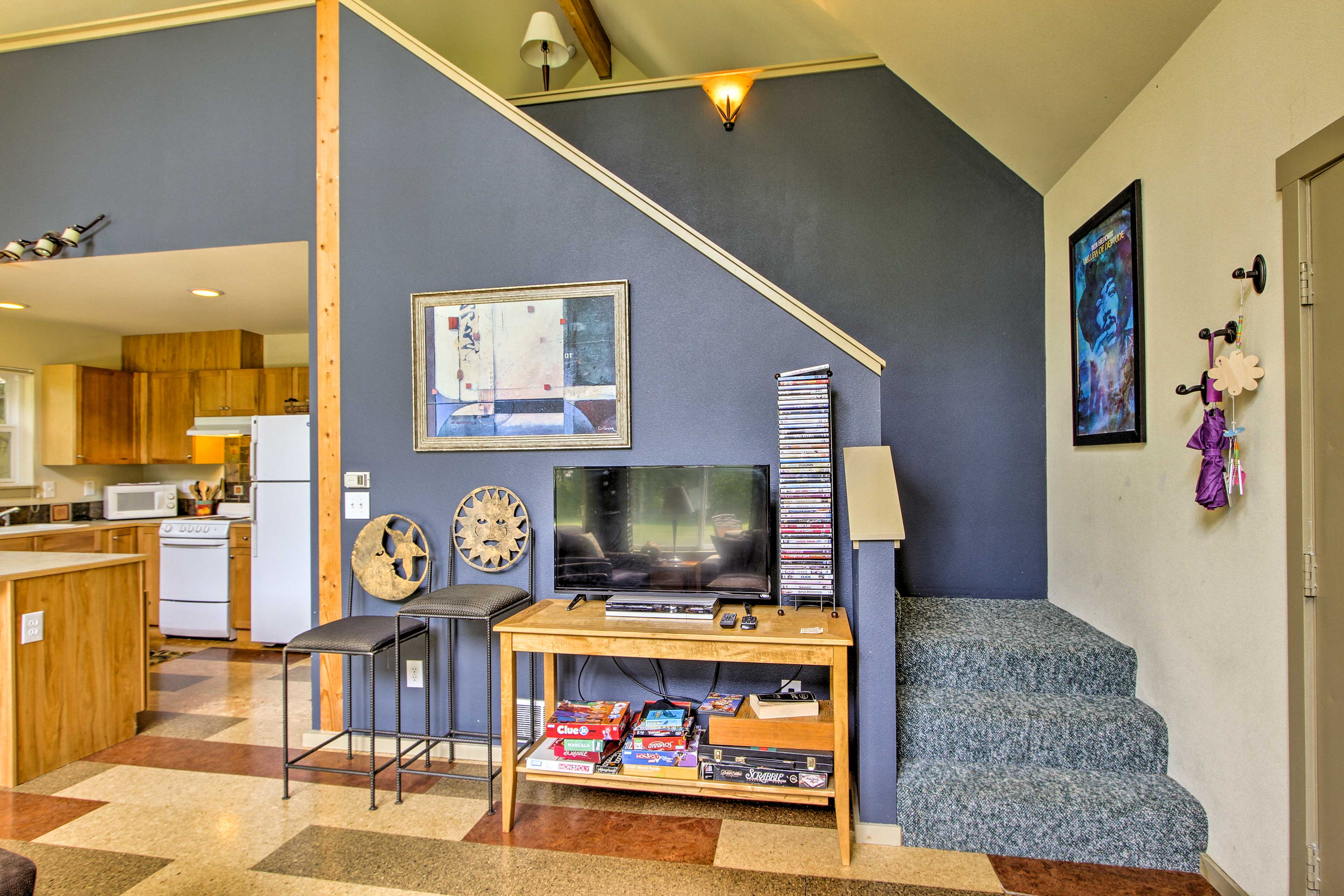 Gather in the living room to watch a movie or play games!