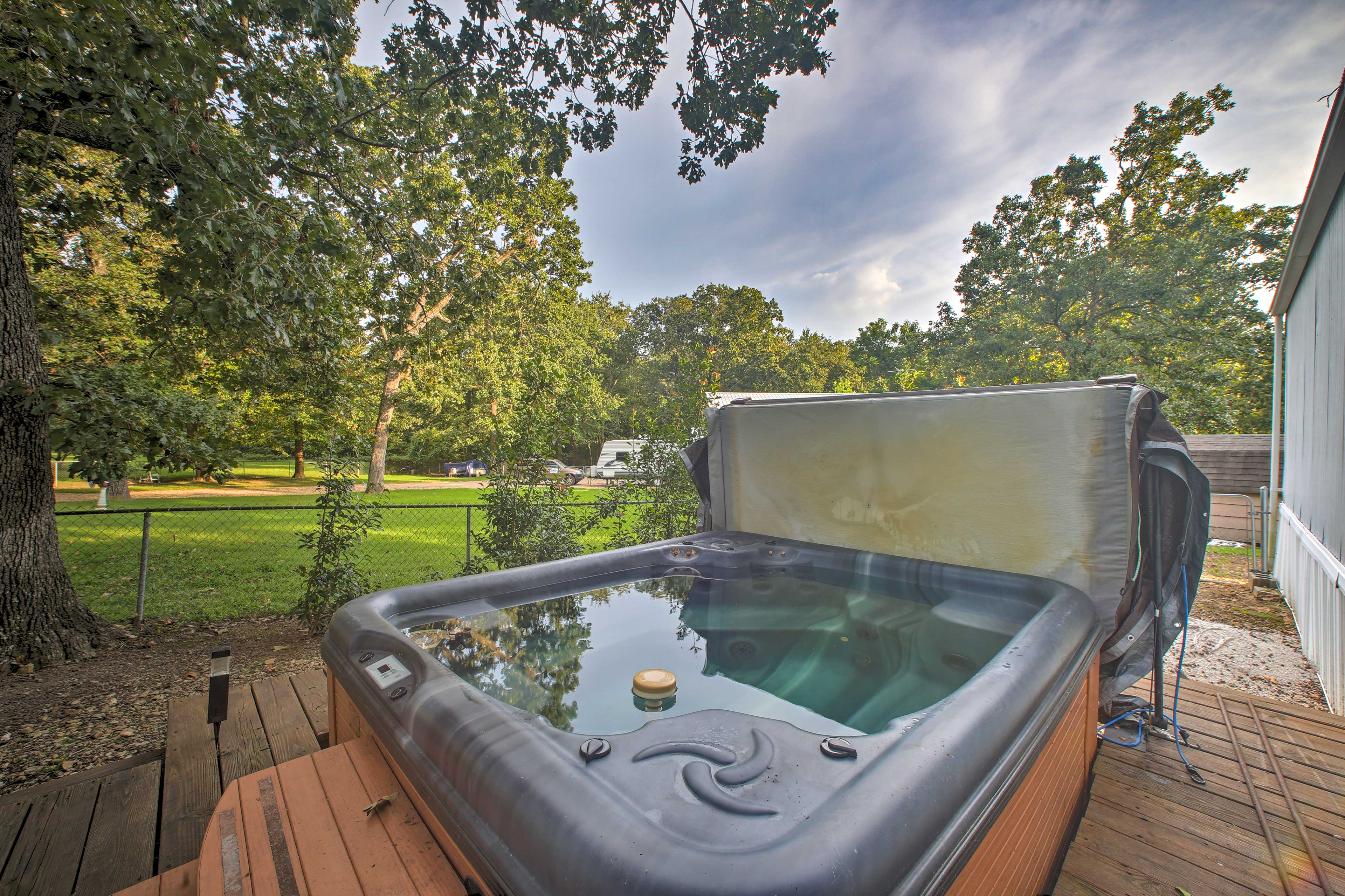 Follow your al fresco meal with a dip in the private hot tub.