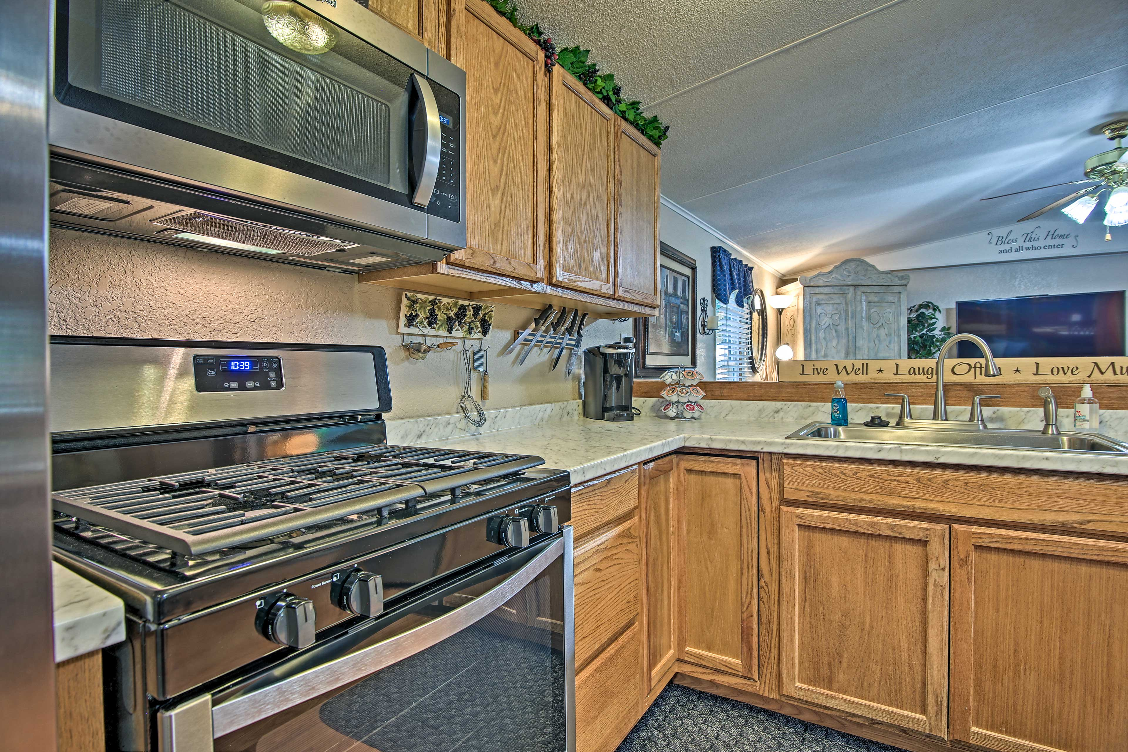 Easily flow from the kitchen into the spacious living room.