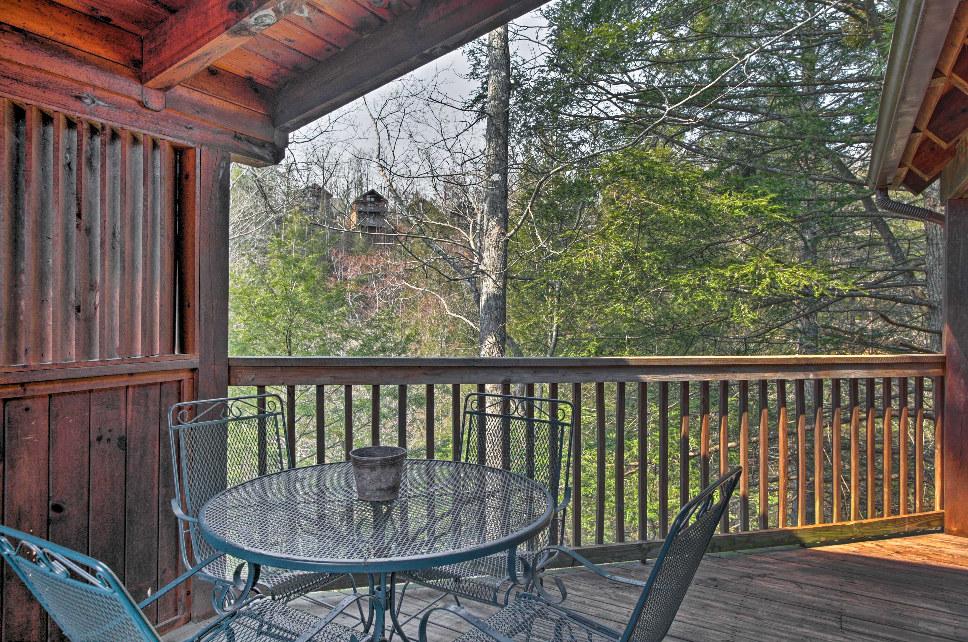 Scenic views can be yours from the covered viewing deck.