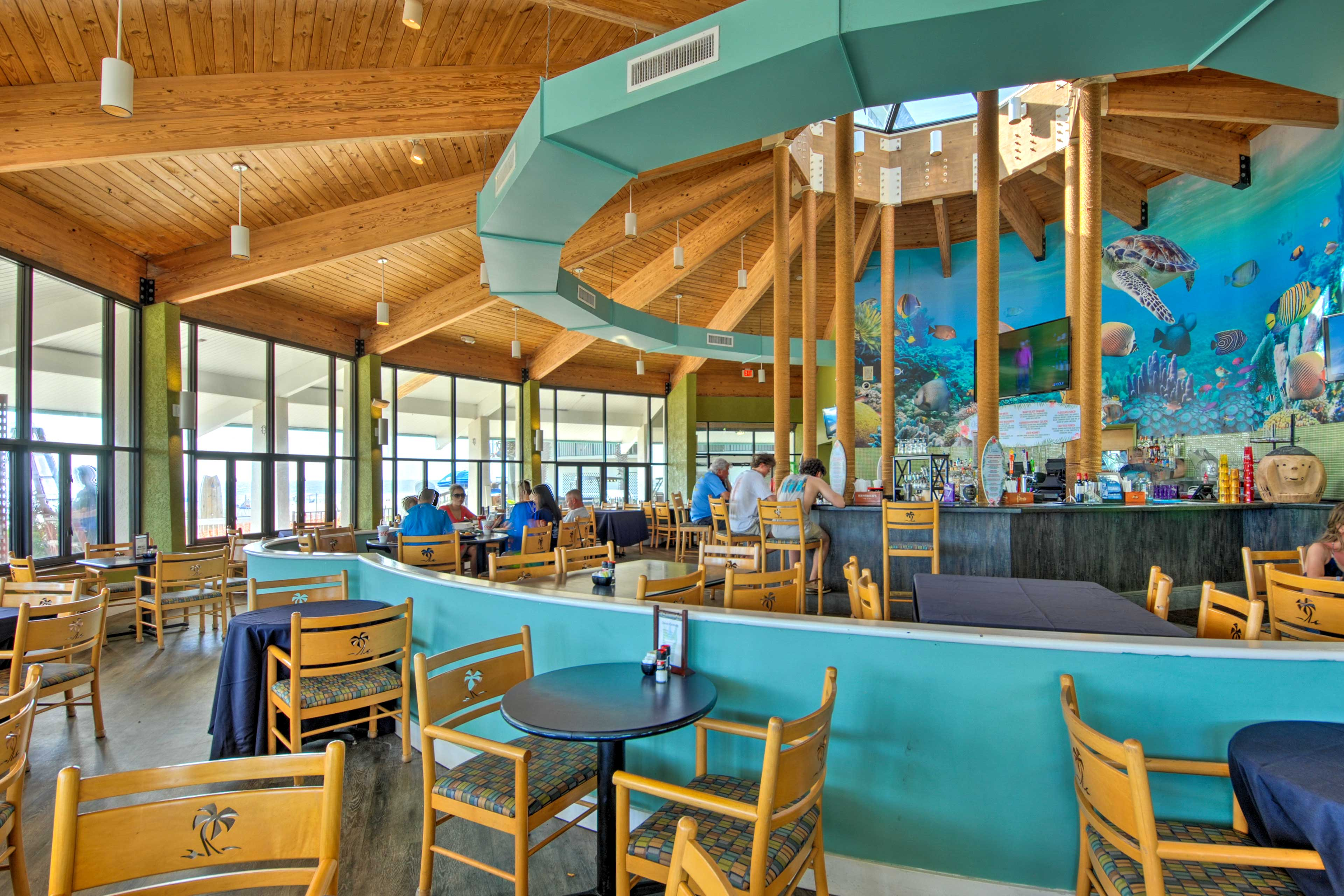 Grab a bite at the on-site restaurant.