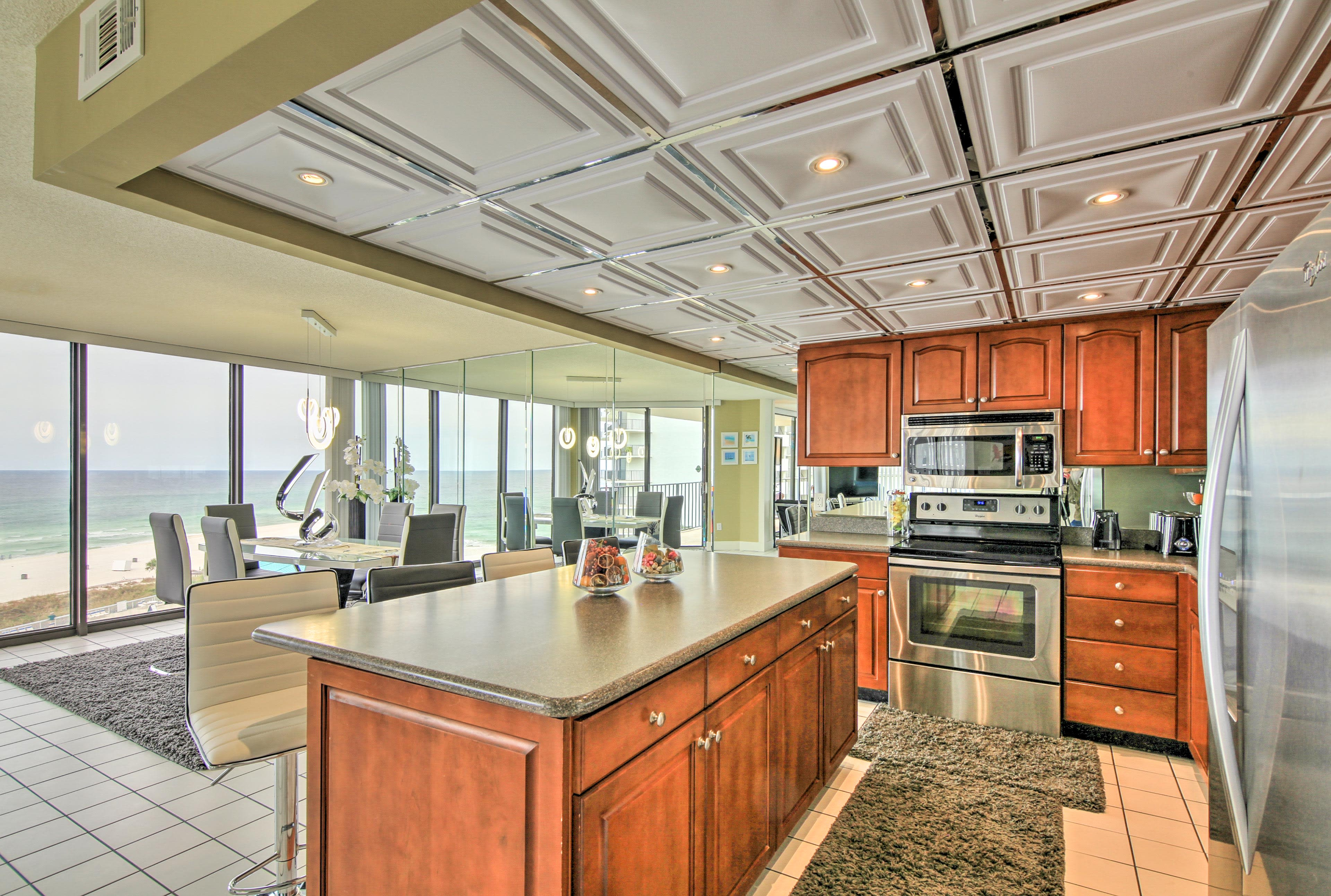 This vacation rental features high-end fixtures and furnishings throughout.
