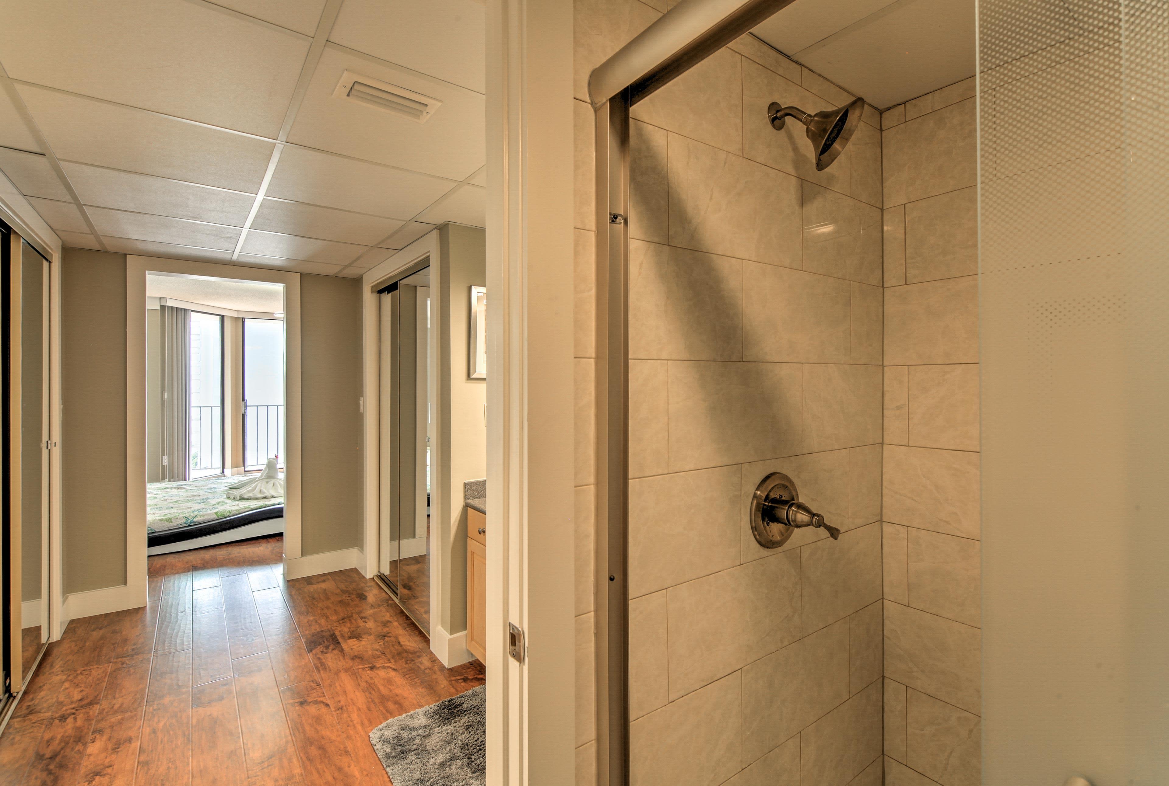 Each room also has access to an en-suite bathroom.