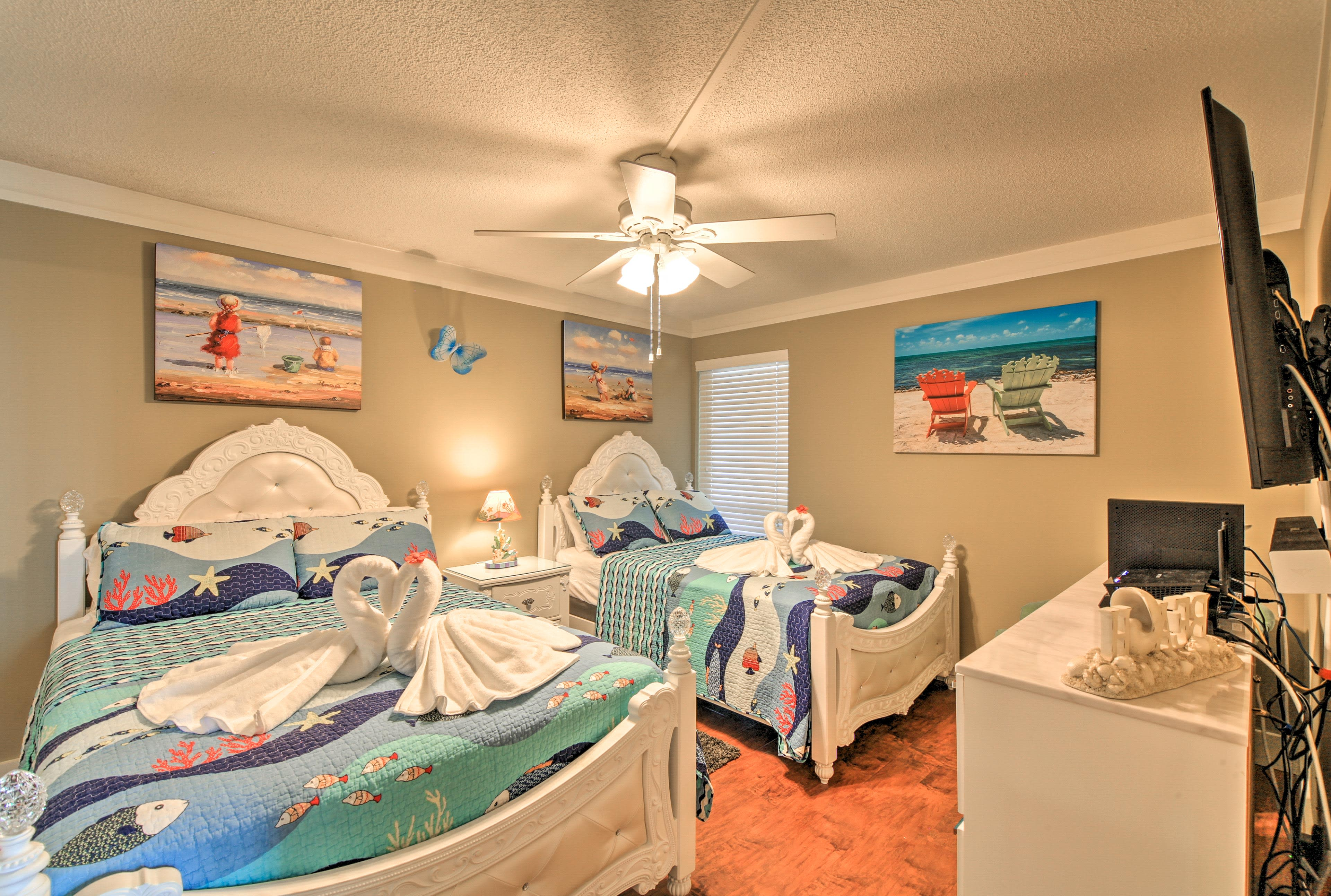 Kids will love sharing this room featuring nautical decor.