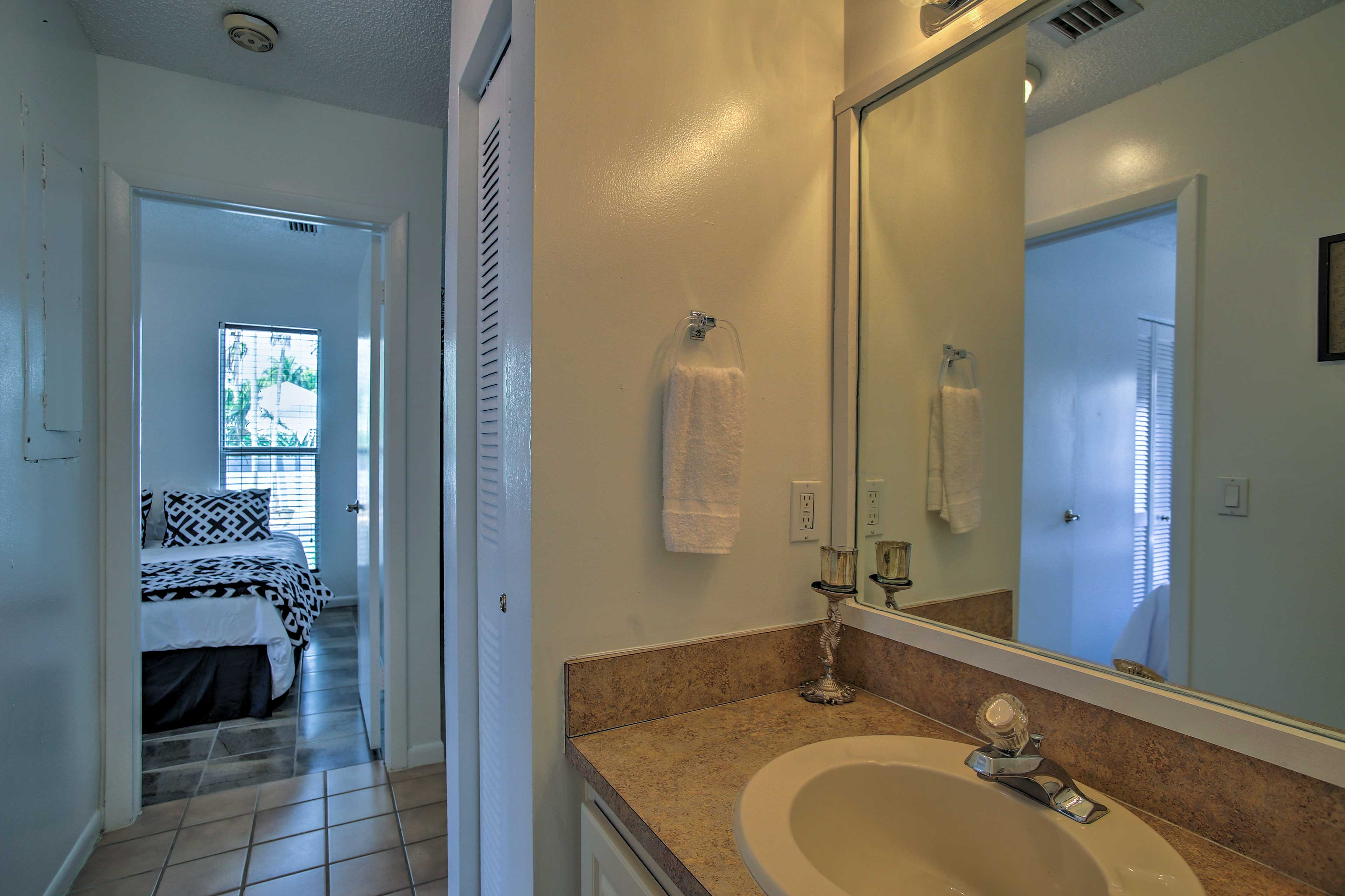 The bathroom sits just steps from the bedrooms.