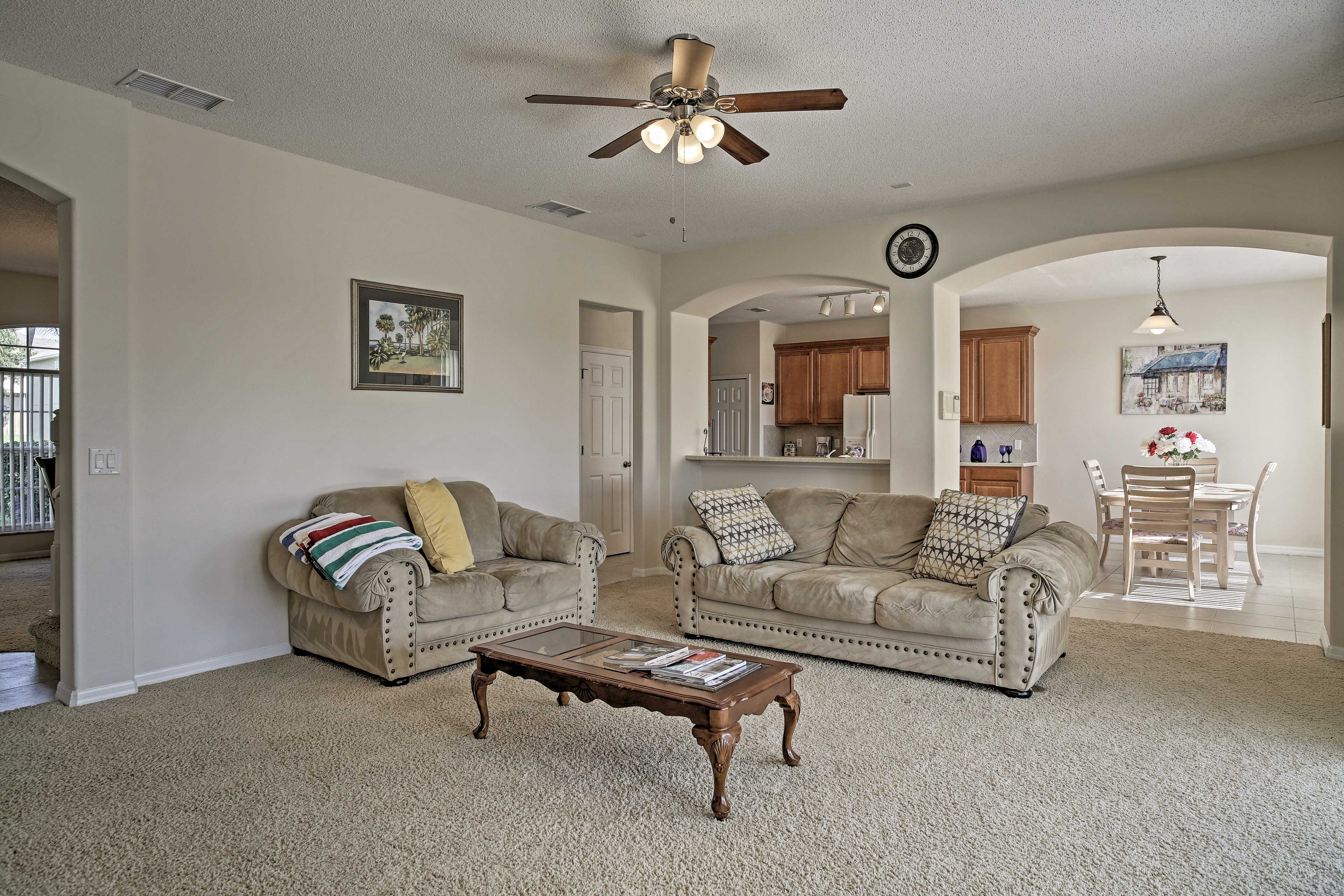 The layout is open and spacious, perfect for your travel group of 10!