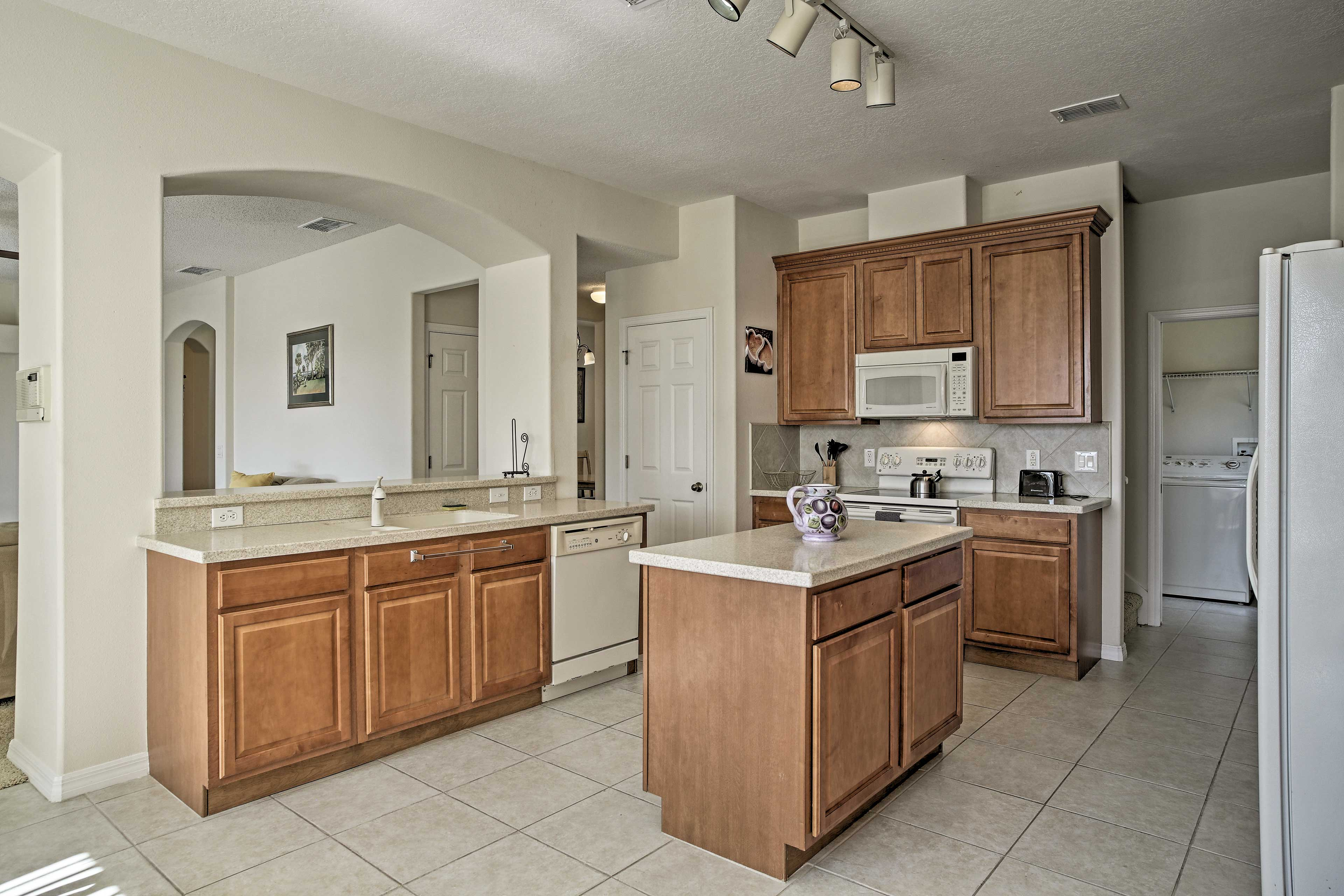 The kitchen is fully equipped for your cooking needs.