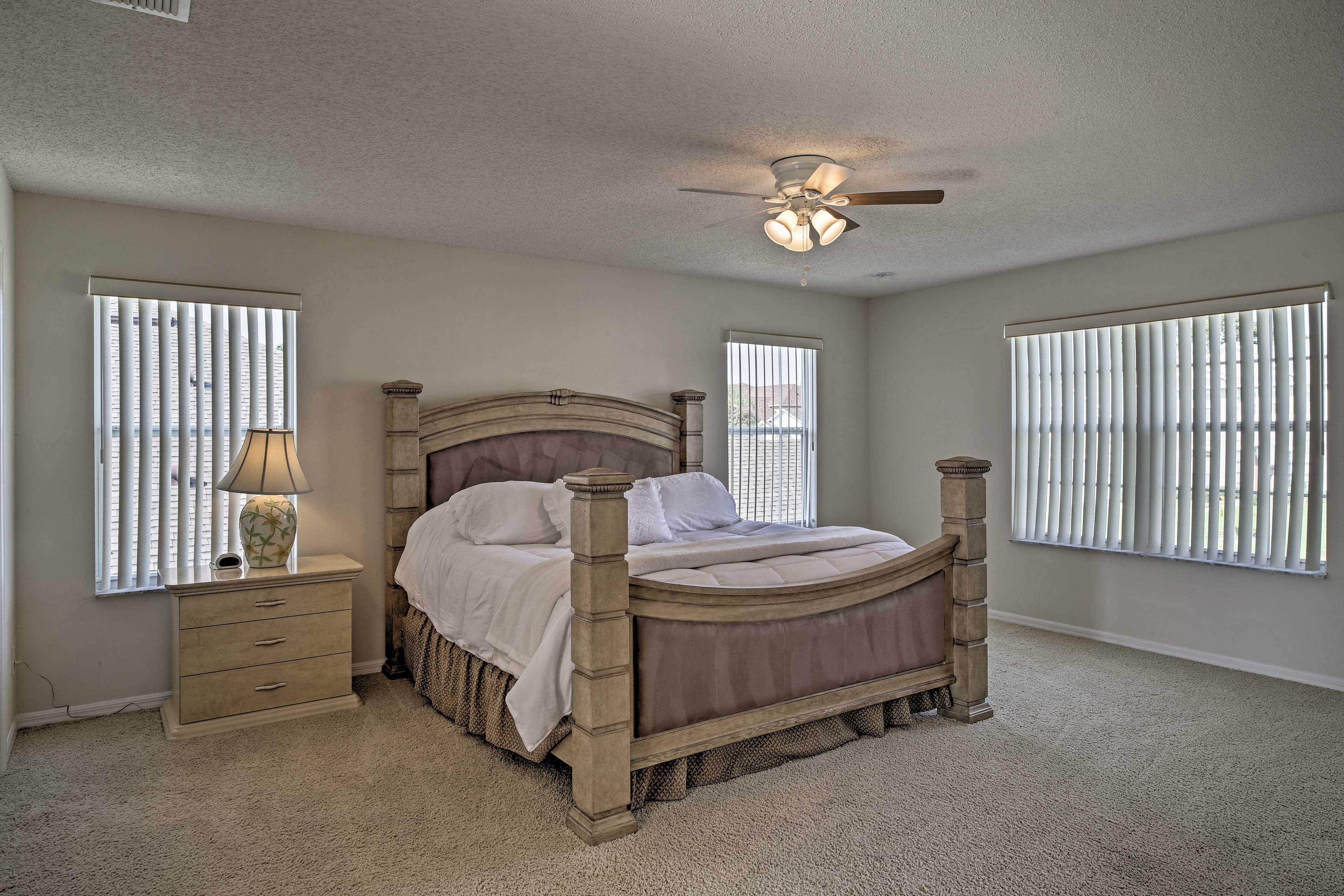 The master bedroom king bed sleeps 2.