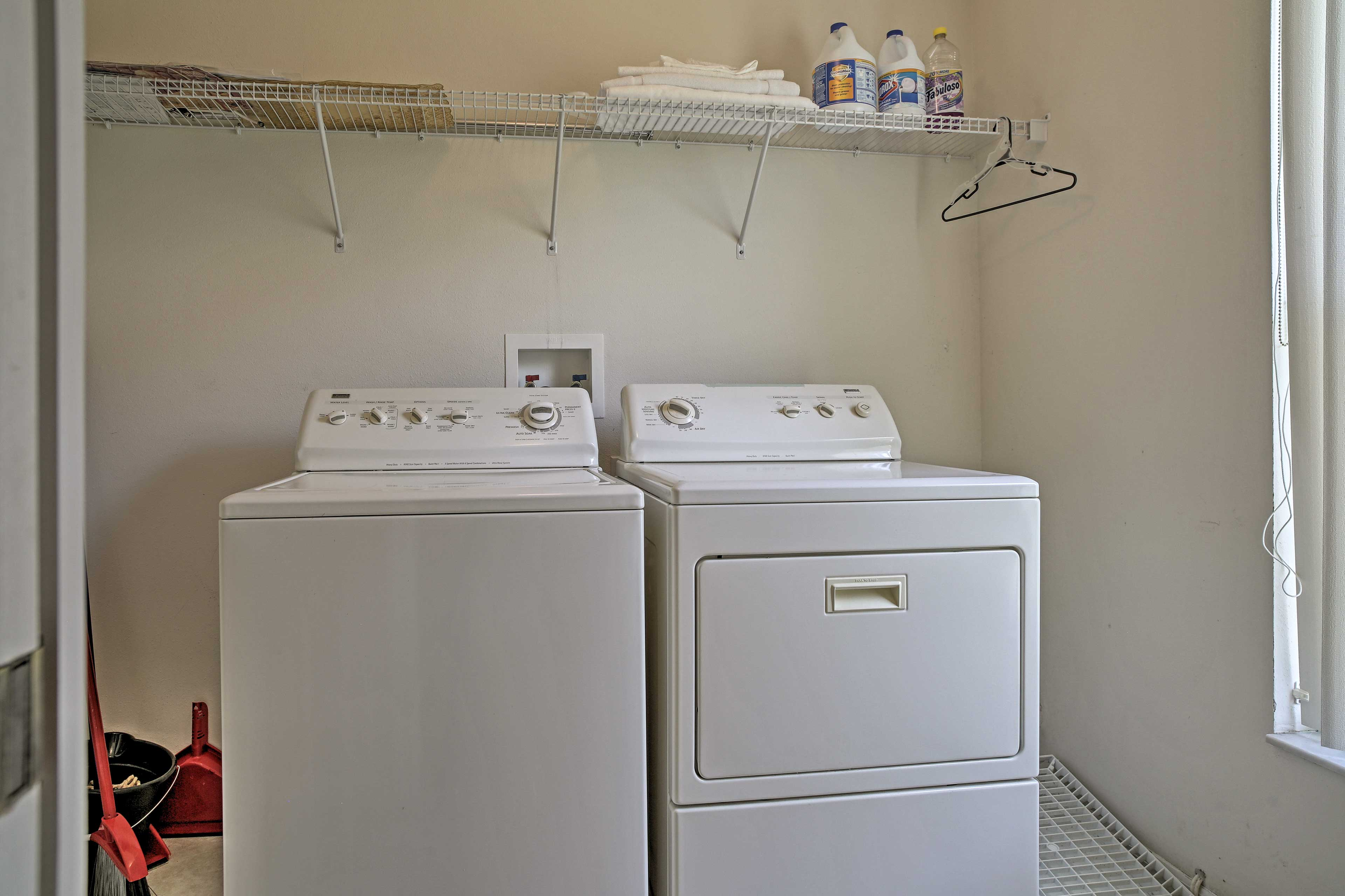 A washer and dryer  are available to you!