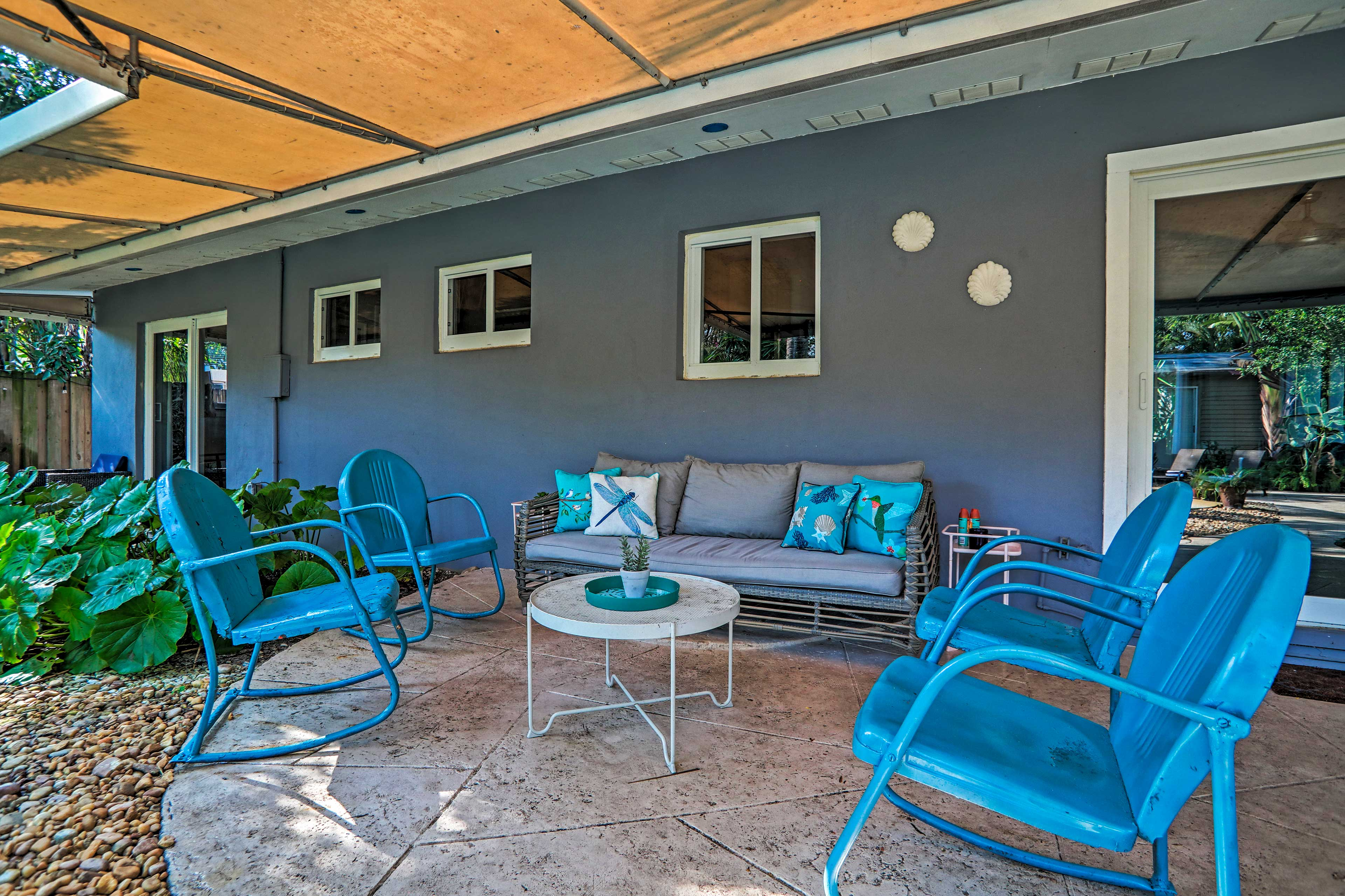 Catch some shade on the covered patio.