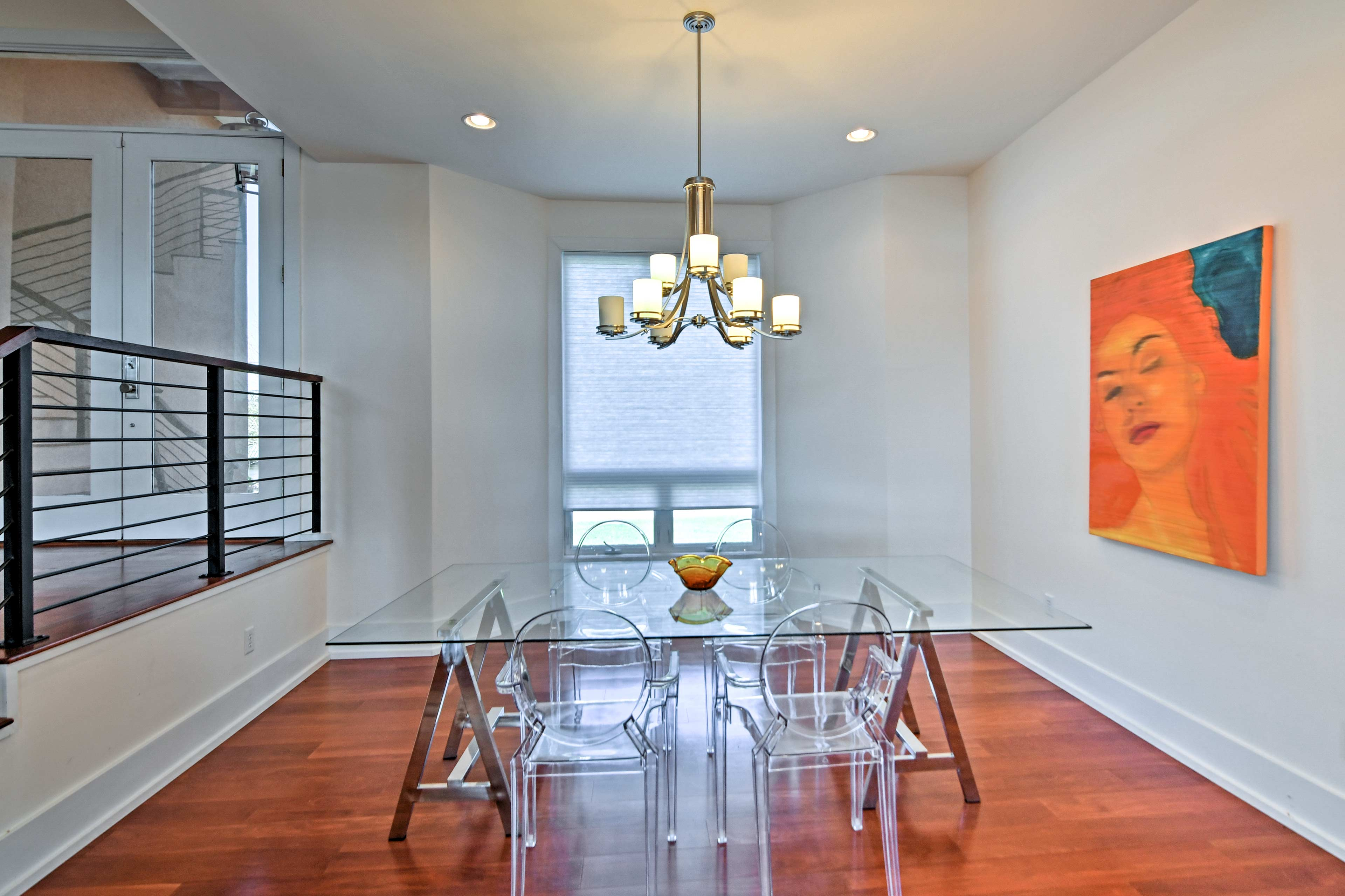 Share home-cooked meals at the translucent dining table.