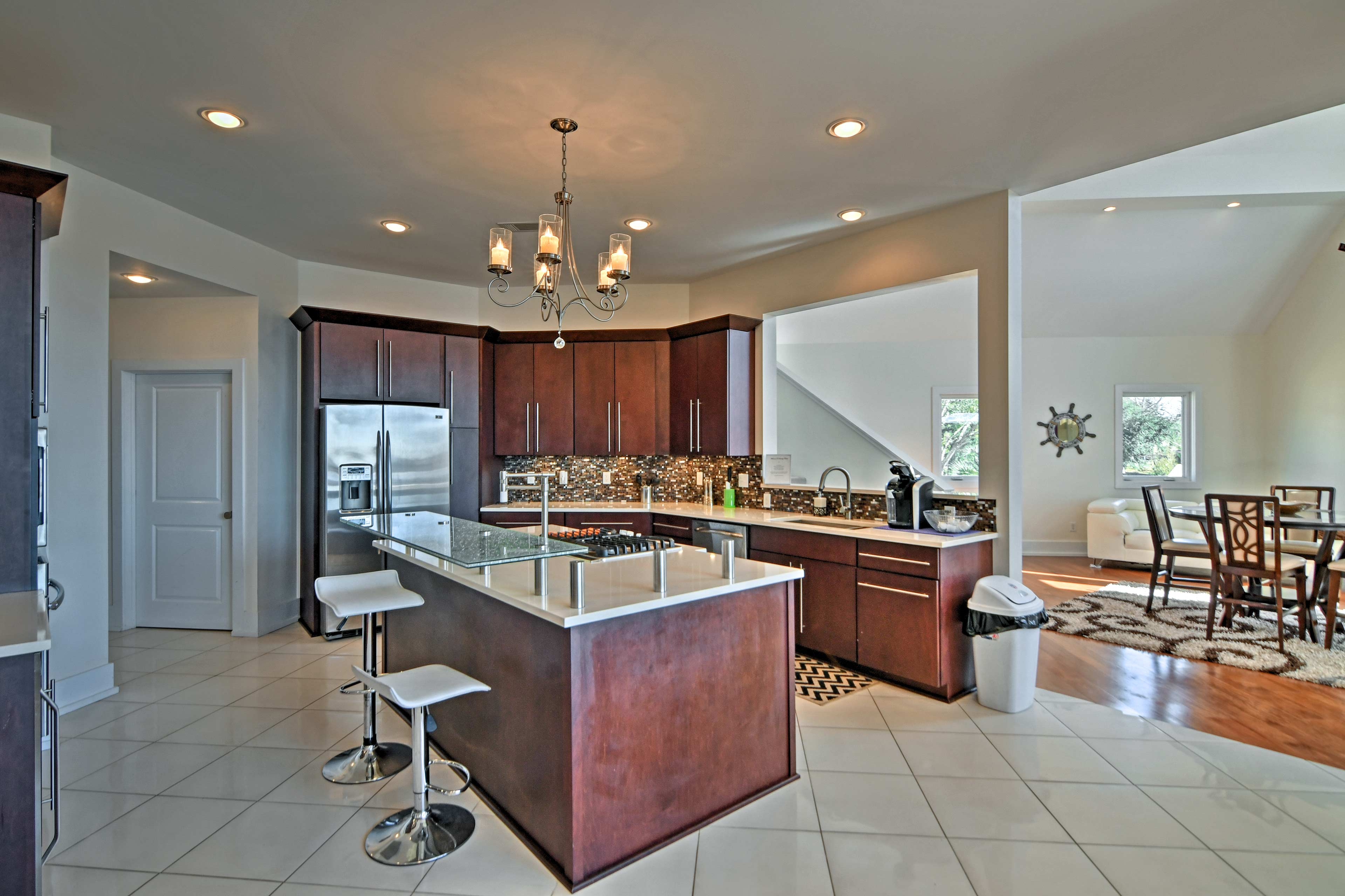 The fully equipped kitchen is a chef's dream.