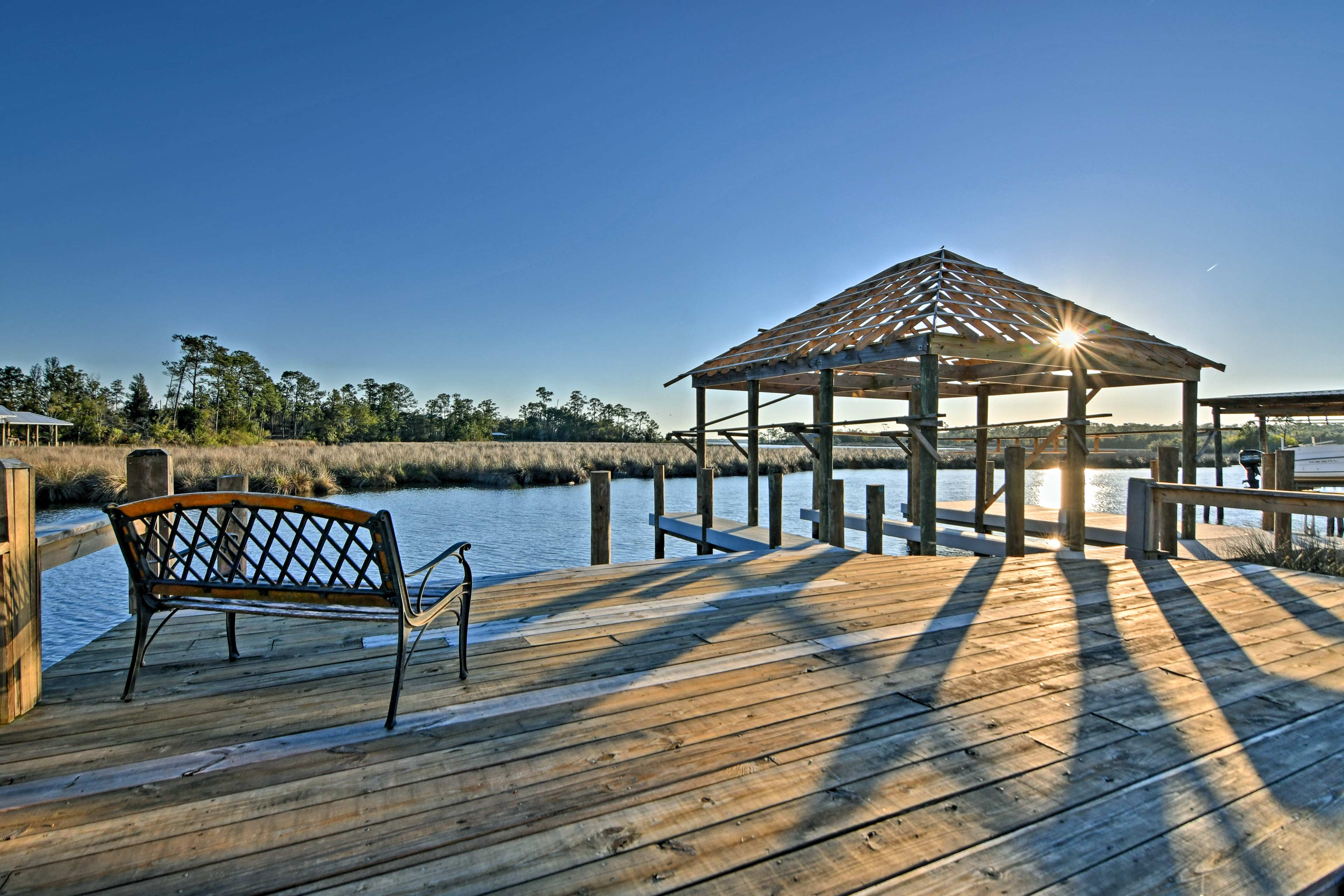 Tie your boat up to the dock and watch the sunset.