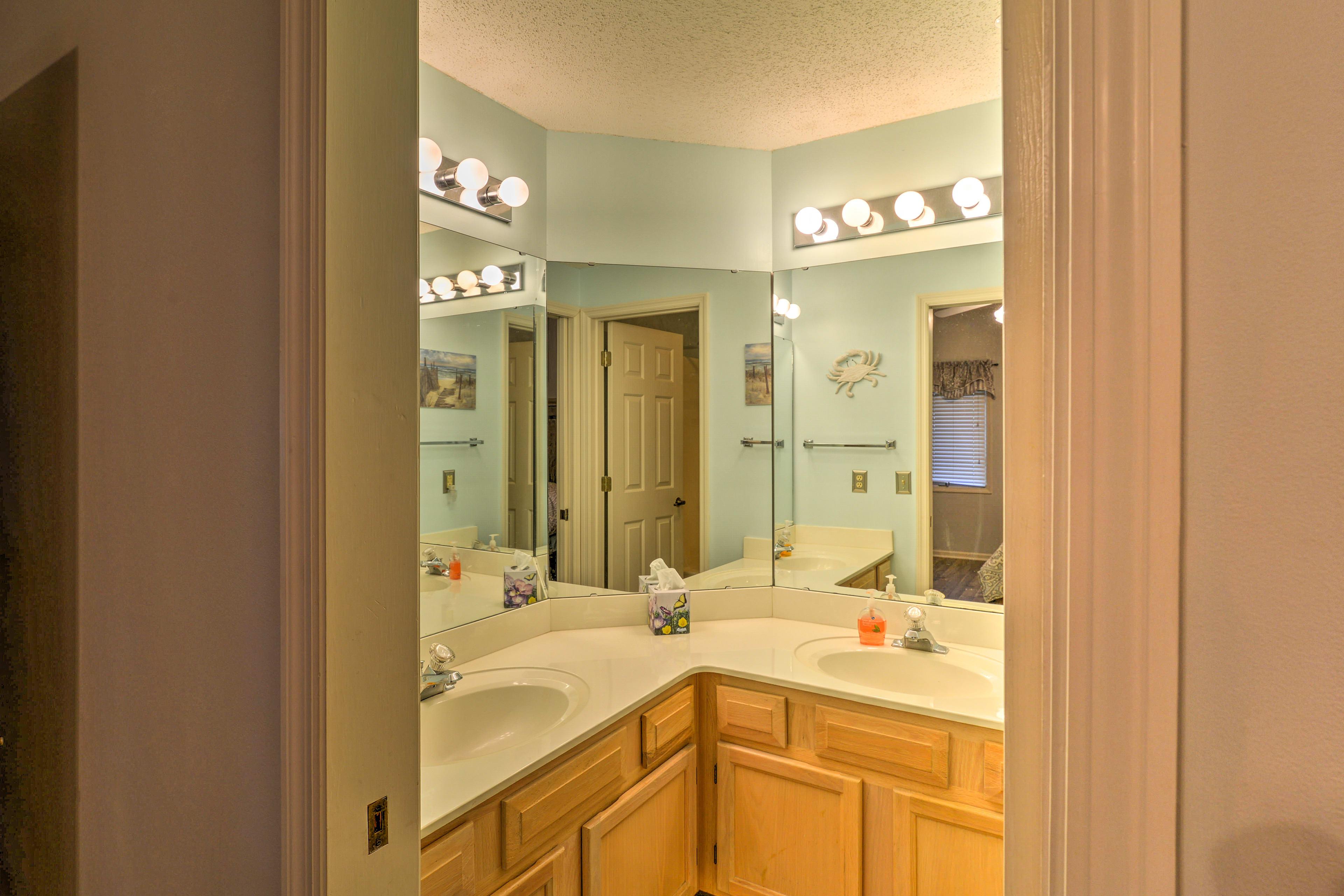 Rinse off in the en-suite bathroom.
