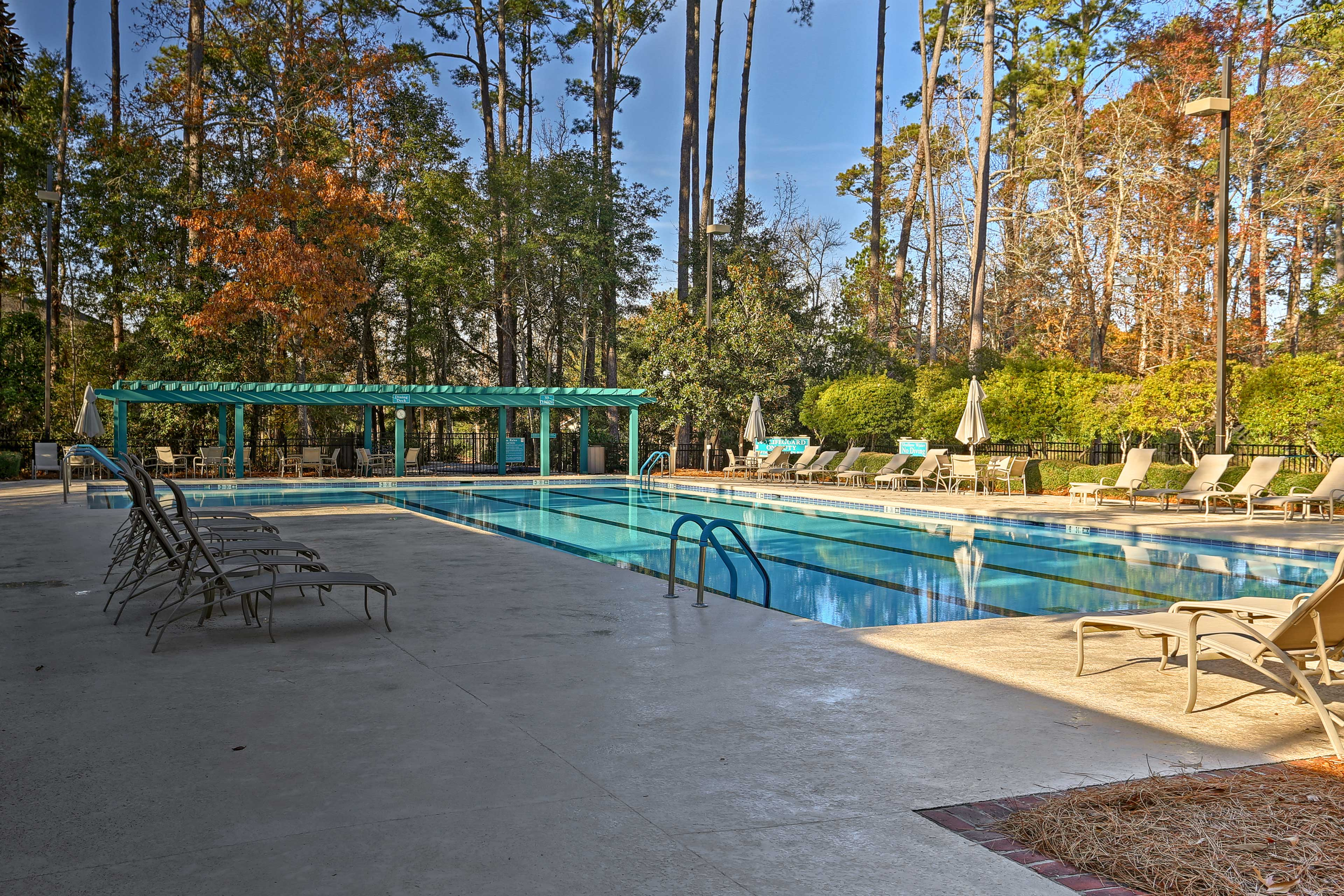 Start your morning with swimming some laps in the outdoor pool.