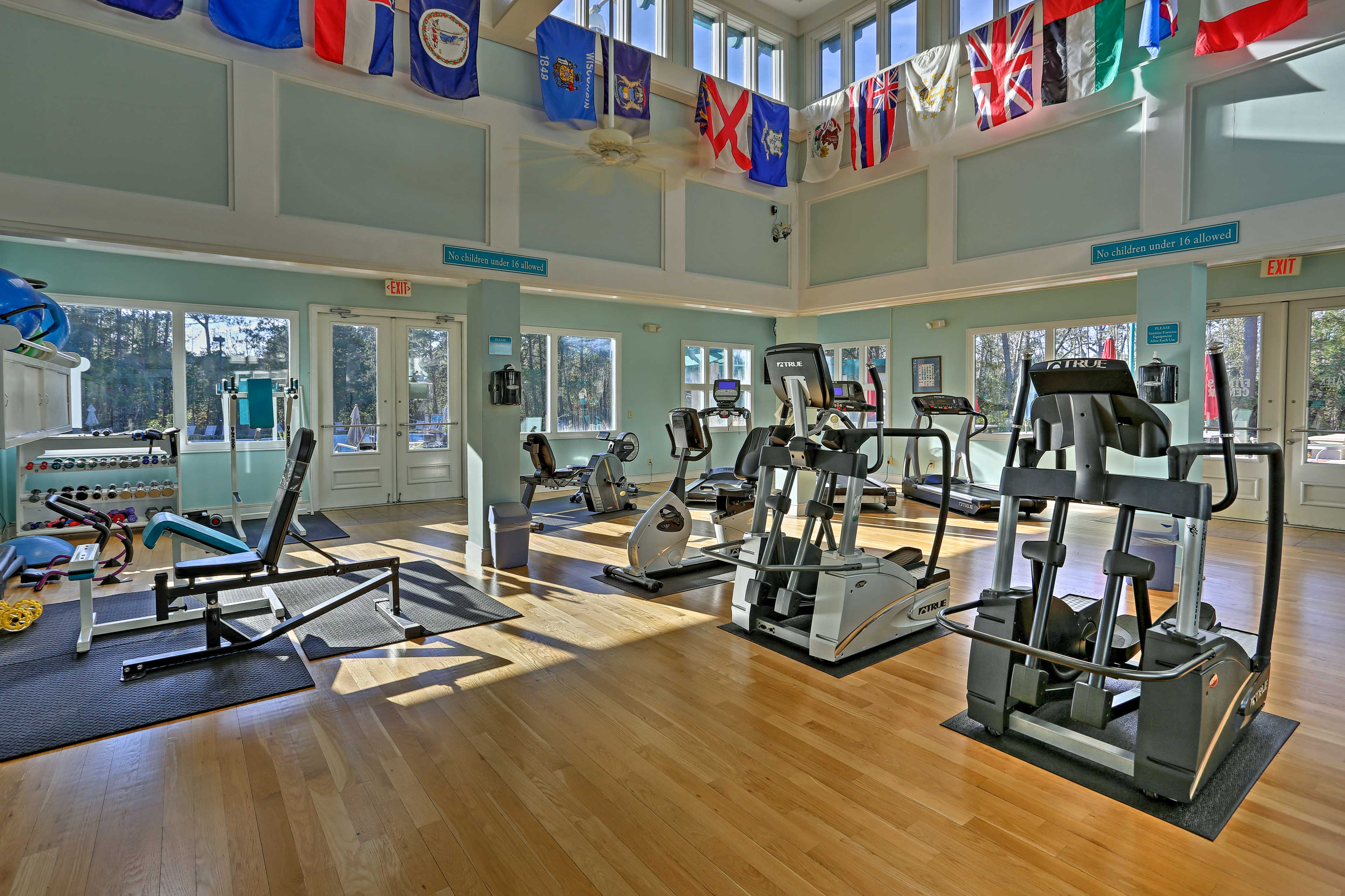 Keep up your fitness in the workout room.