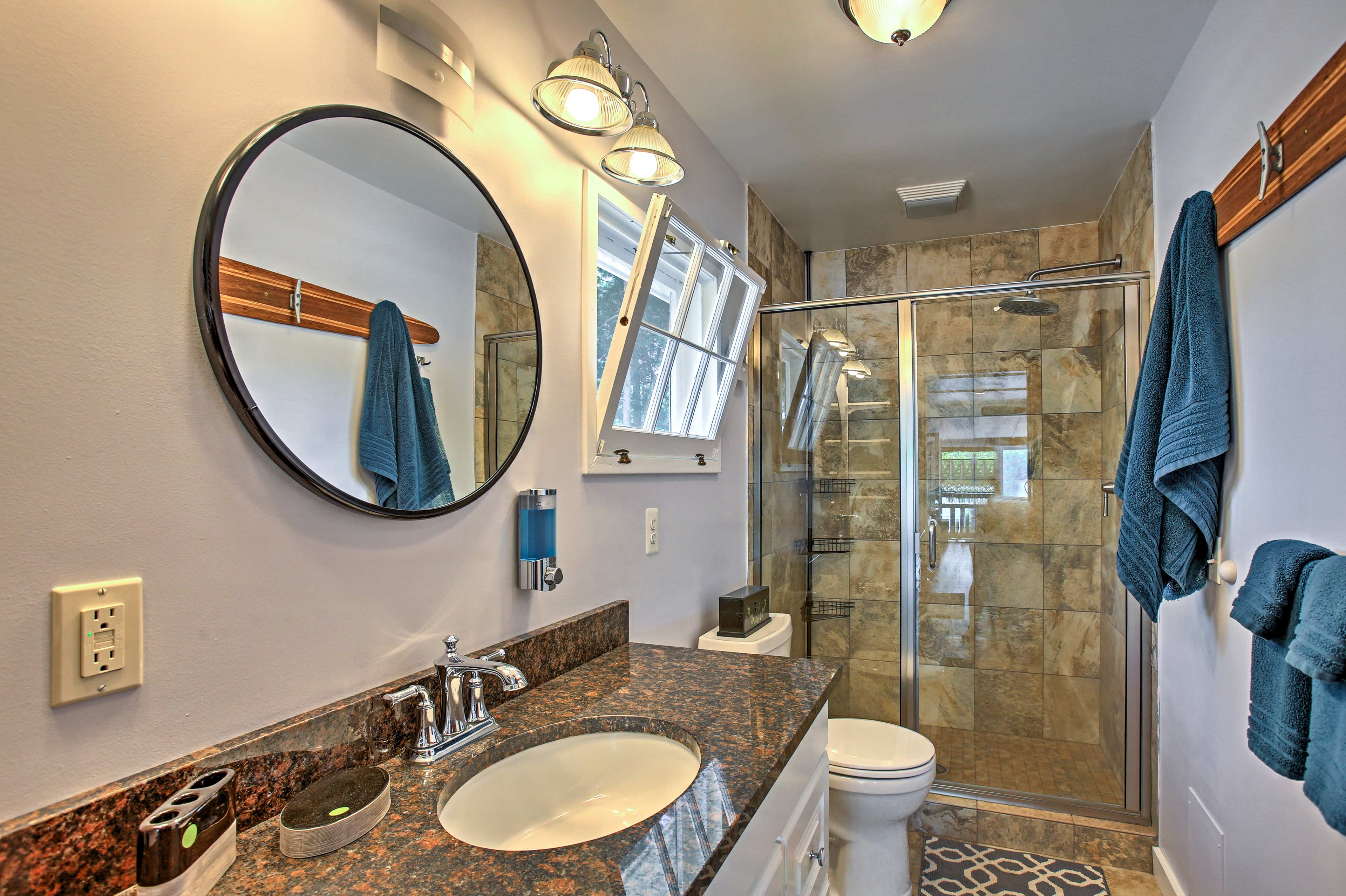 Rinse off the day in the newly updated bathroom.