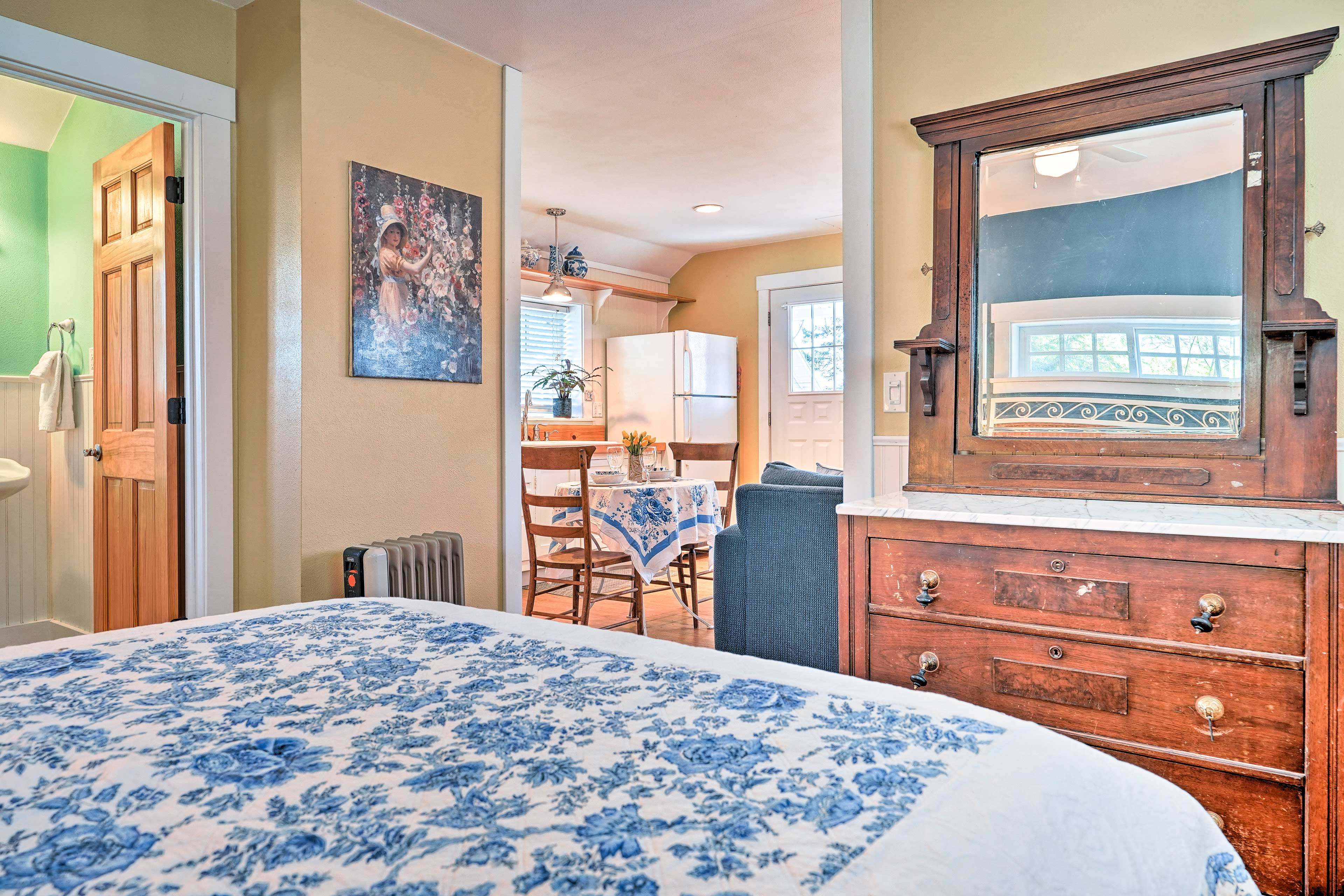 A large dresser and closet let you unpack and feel at home during your stay.