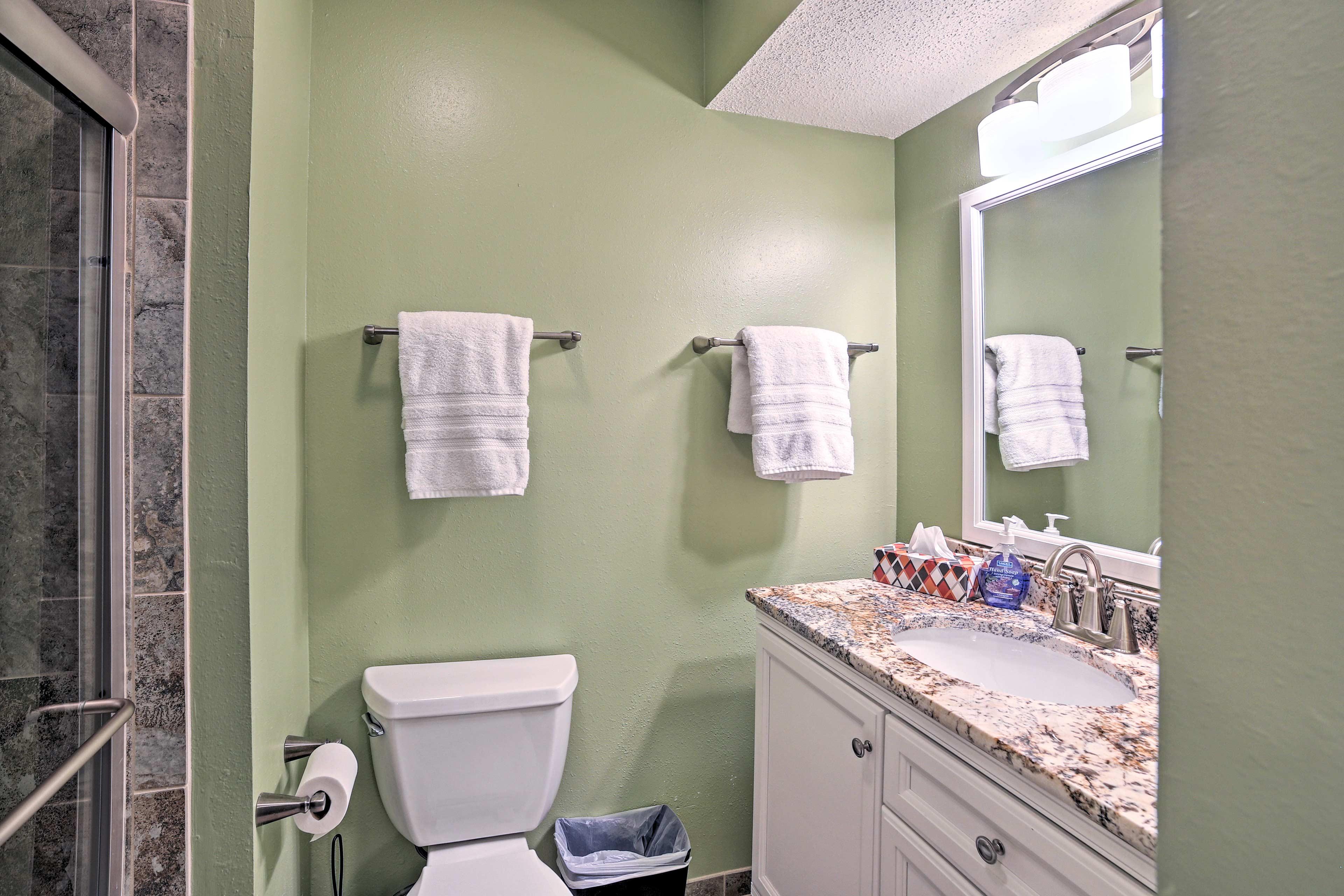 Rinse off in 1 of 2 full bathrooms.