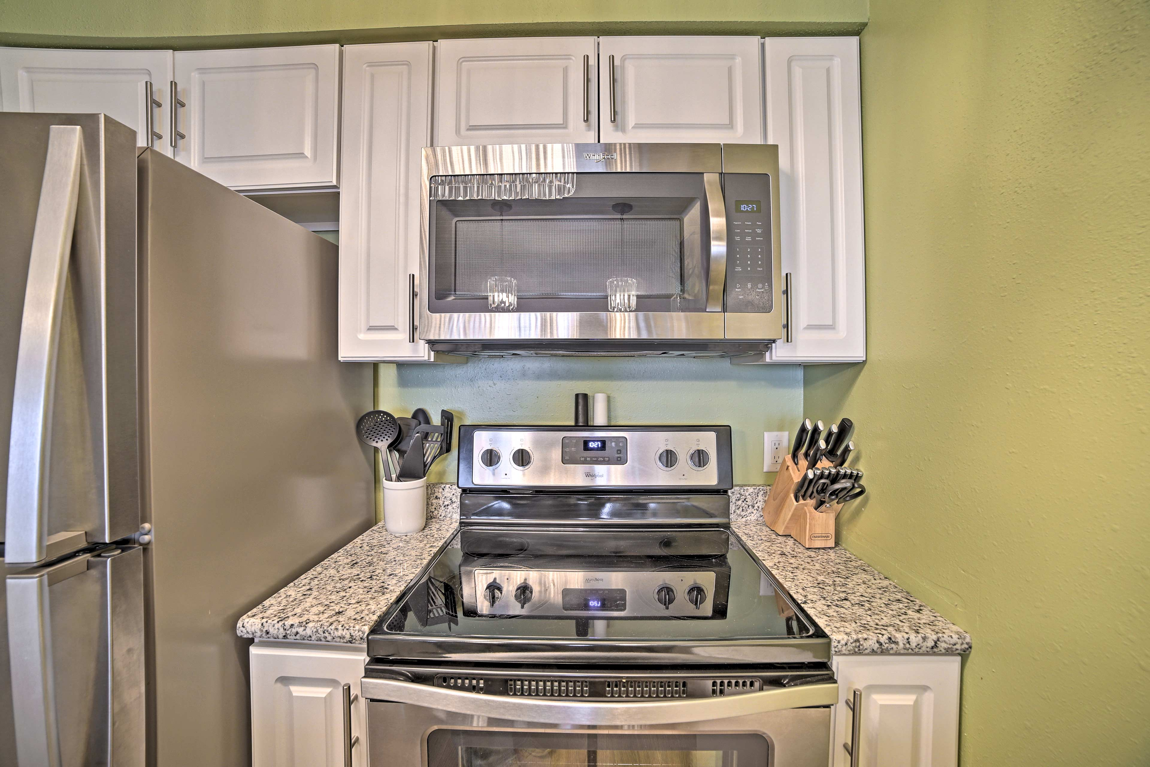 Utilize stainless steel appliances to prepare home-cooked meals.