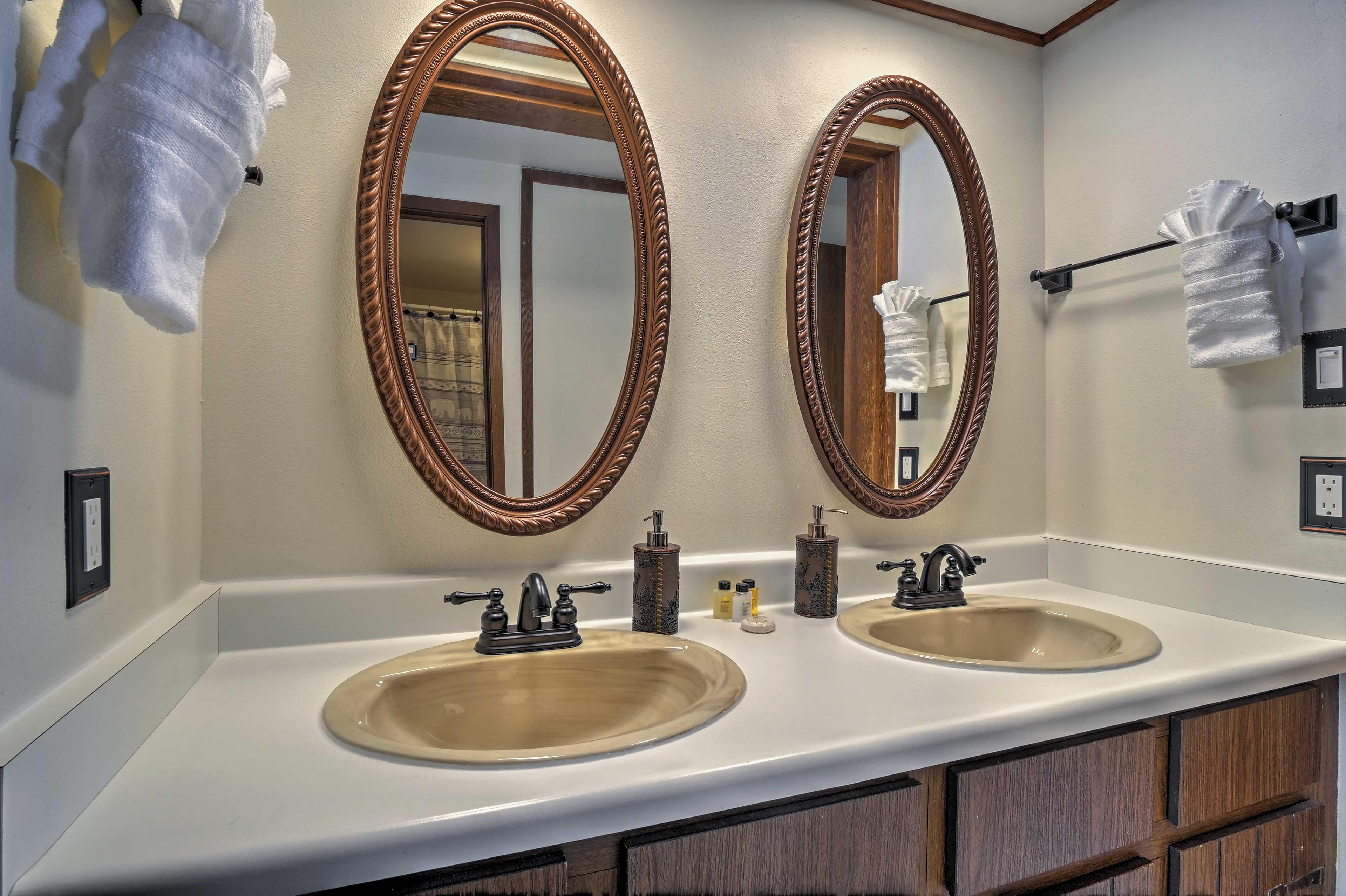 The en-suite master bath features a double vanity.