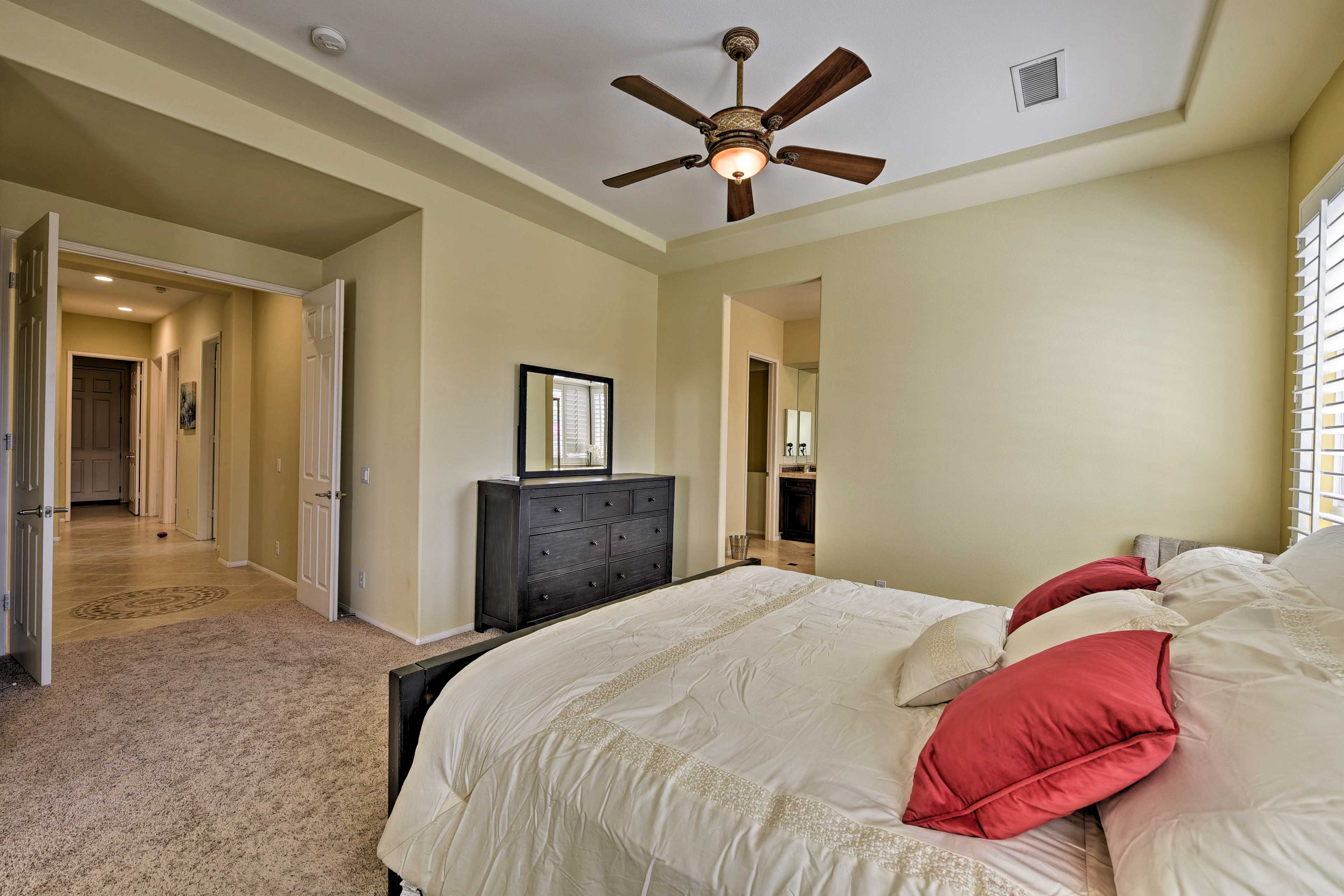 You'll love the constant breeze from the ceiling fan.
