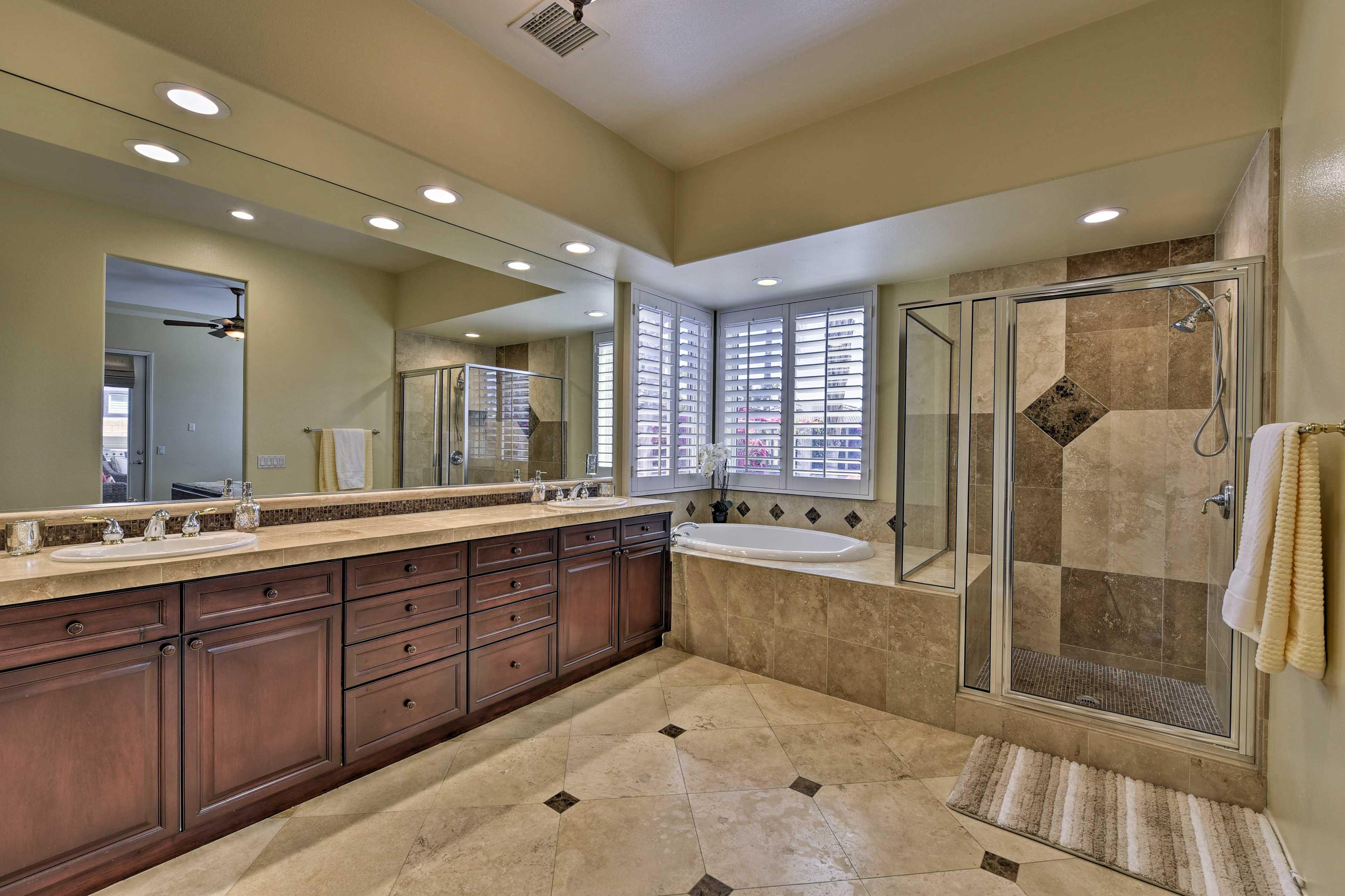 Luxury awaits in this upscale en-suite bathroom.
