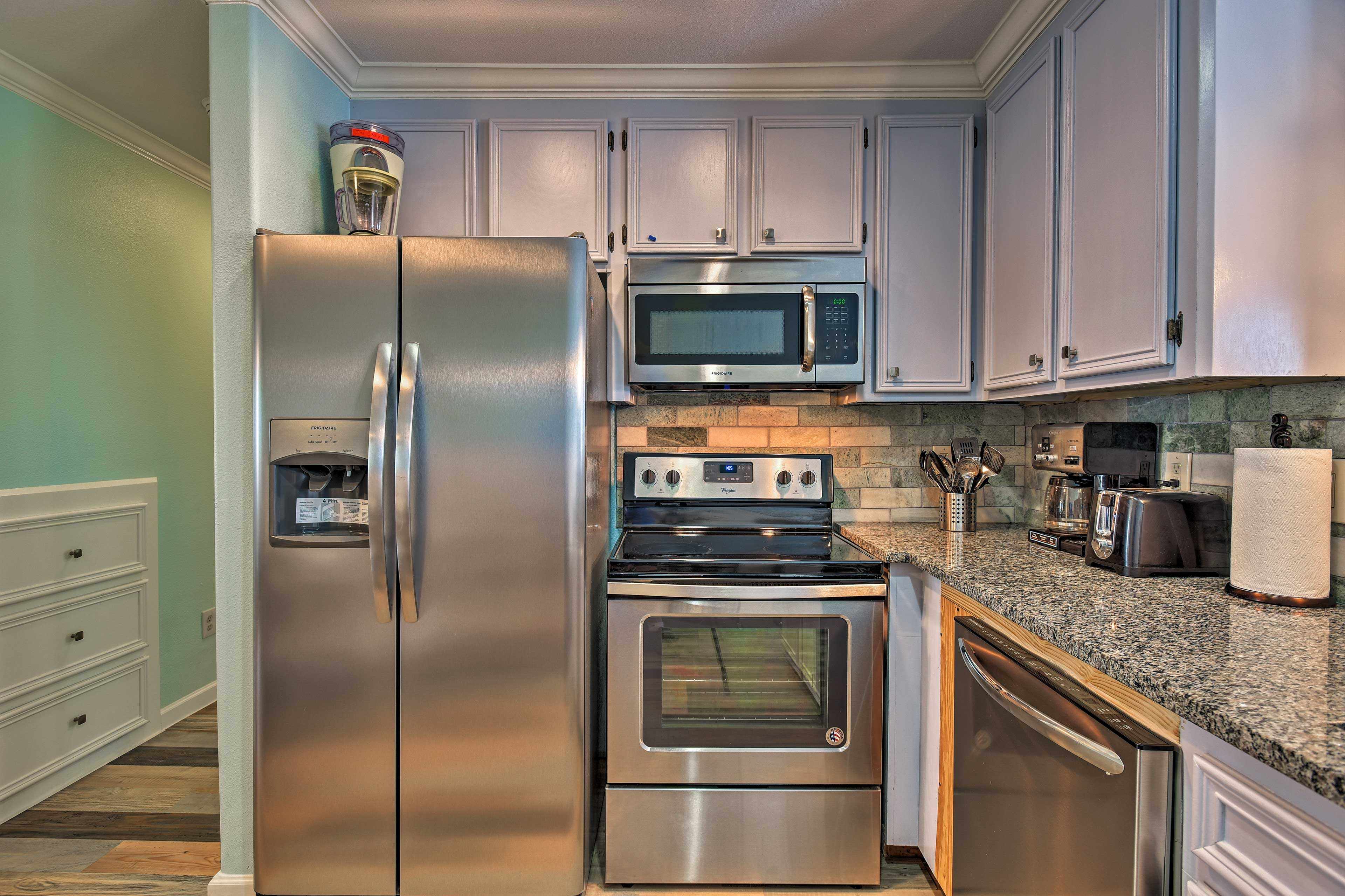 You'll love the granite countertops and stainless steel appliances.