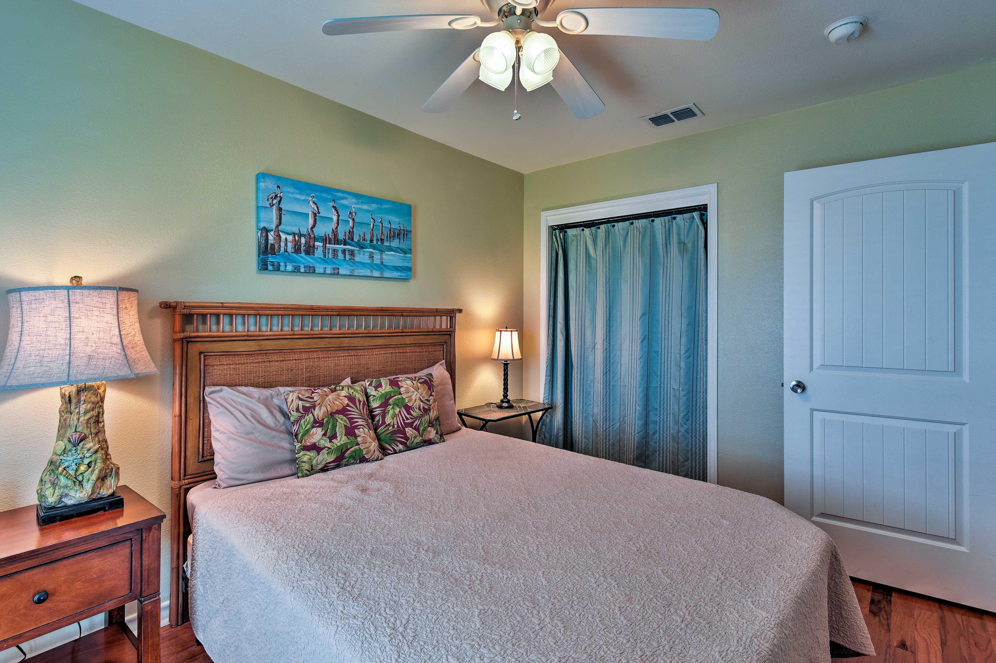 Each bedroom includes a cozy queen bed.