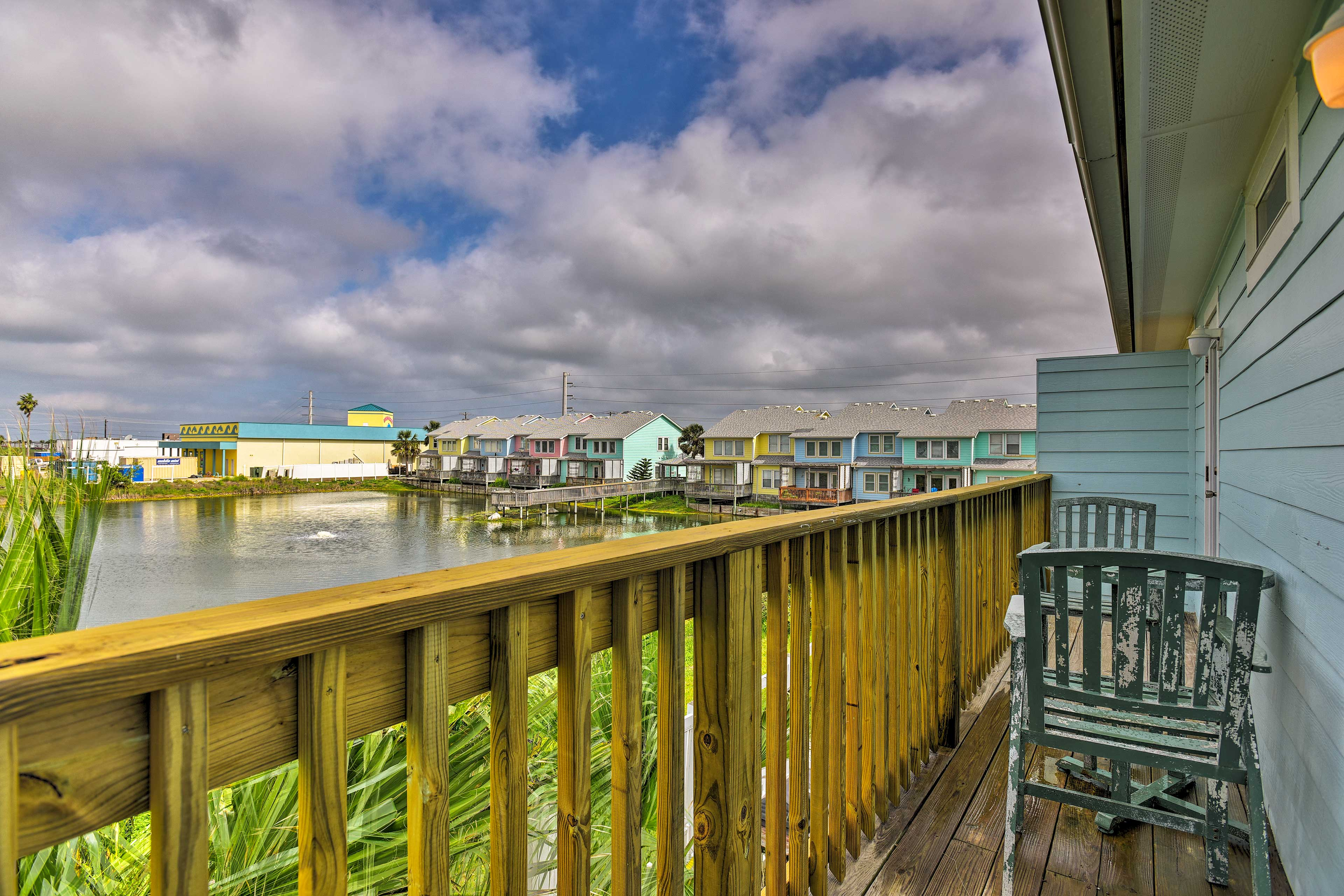 The deck looks out to waterfront views.