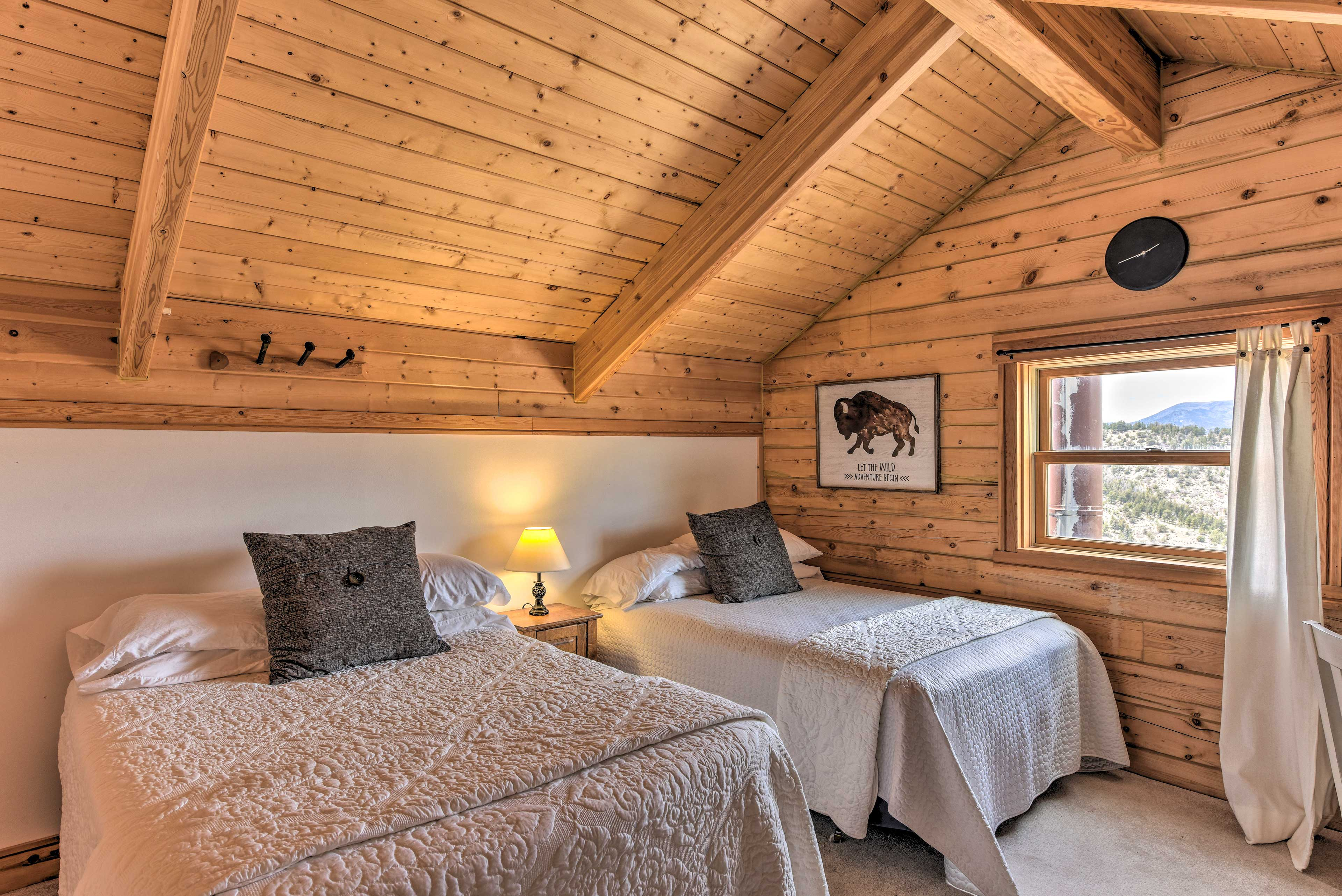 The loft features 2 full beds.